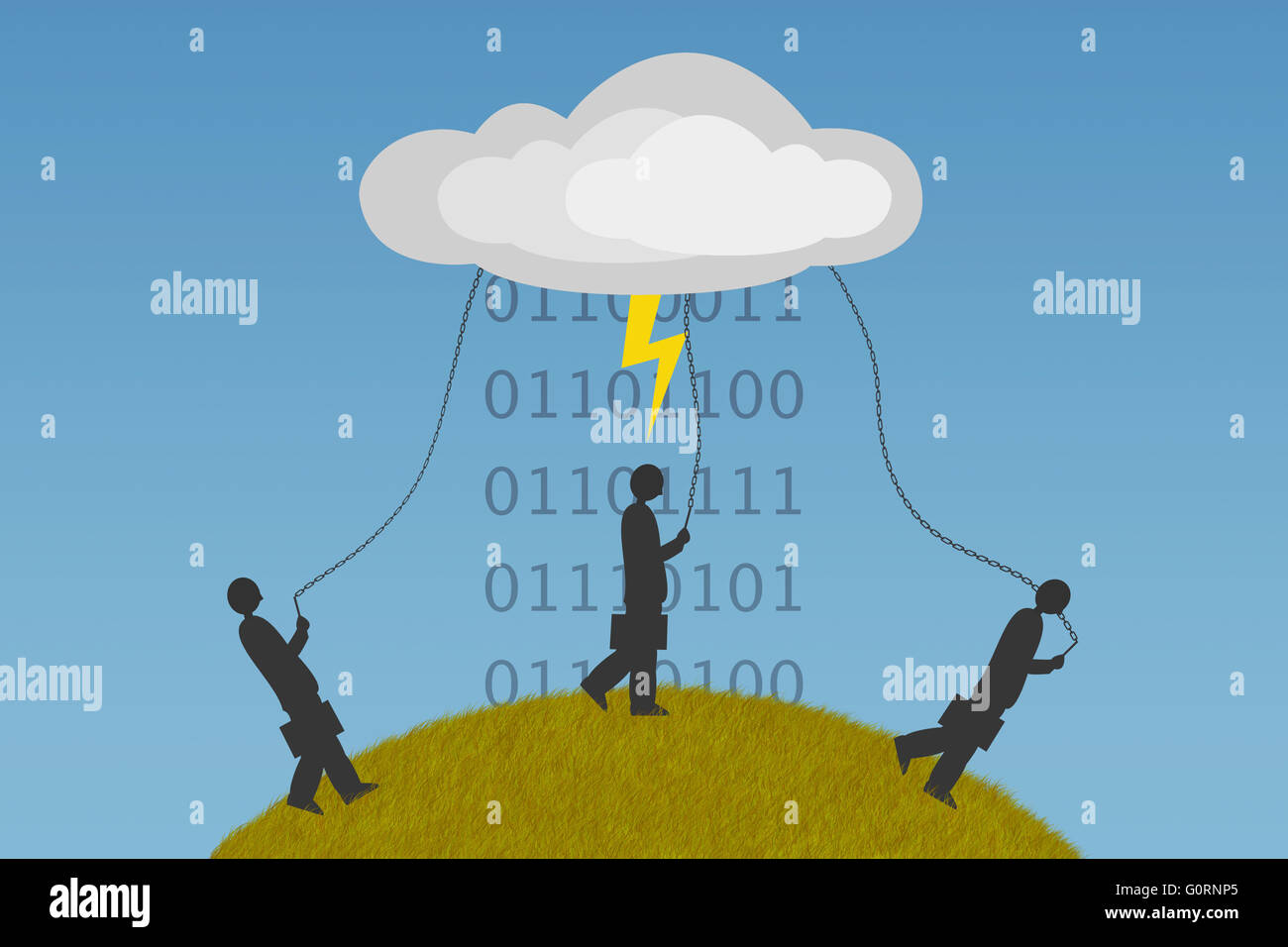 Humanity became dependent on cloud computing - Stock Image