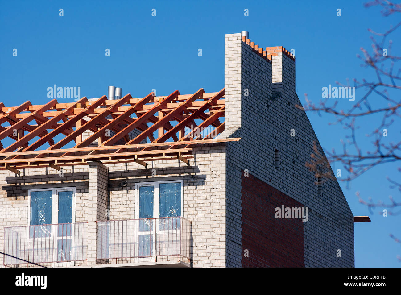 construction of a new modern multistory building - Stock Image