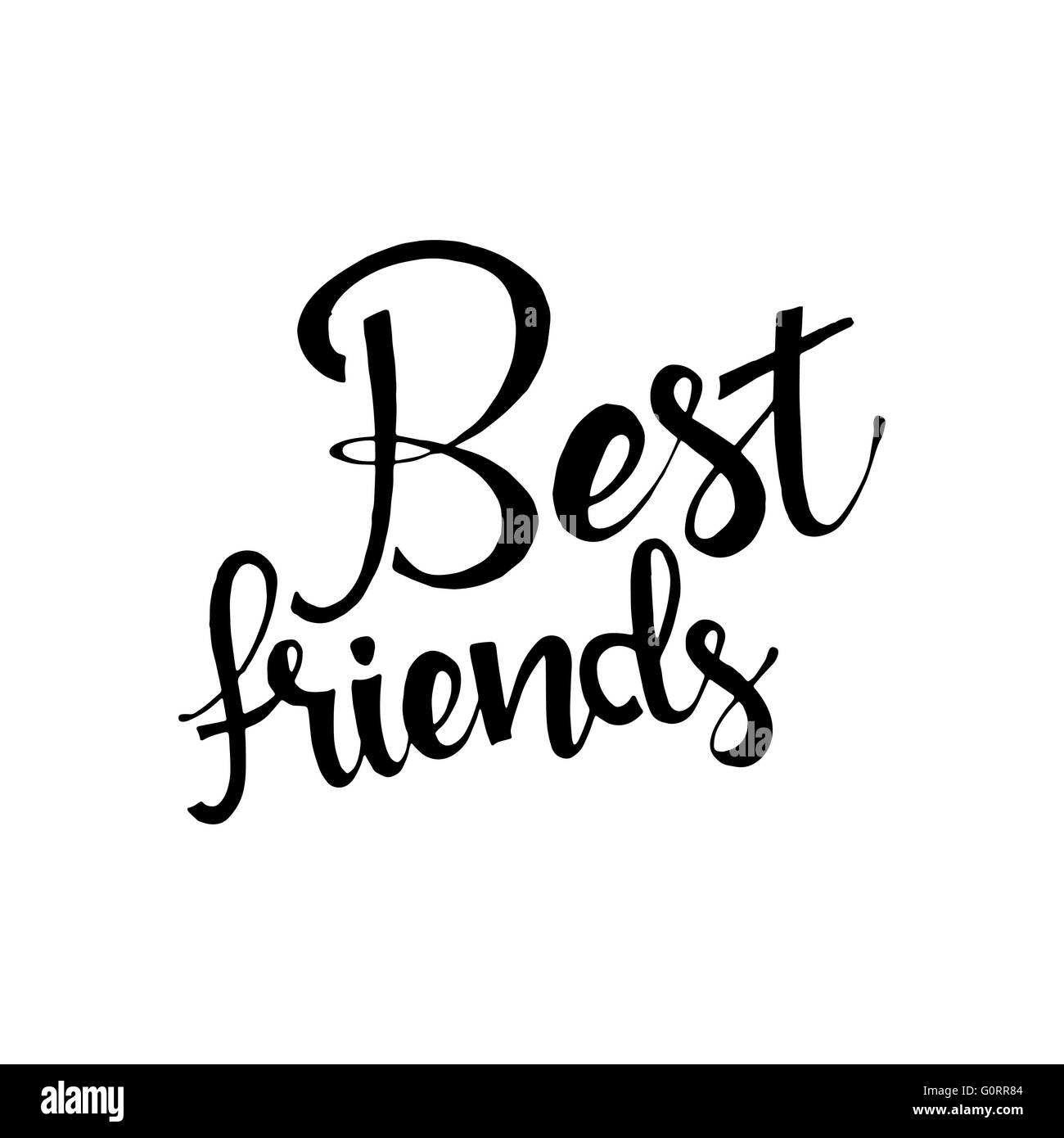Best Friends Phrase Handwritten Lettering Modern Calligraphy Vector Isolated On White Background