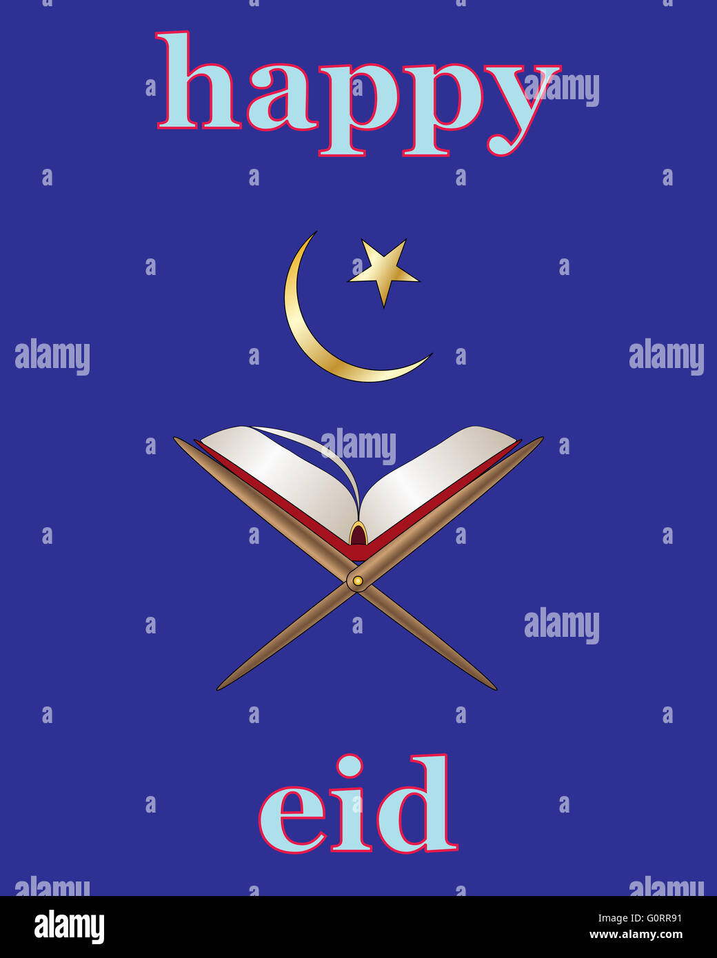 an illustration of an Islamic greeting card for the festival of Eid with Koran and star and crescent moon on a blue - Stock Image