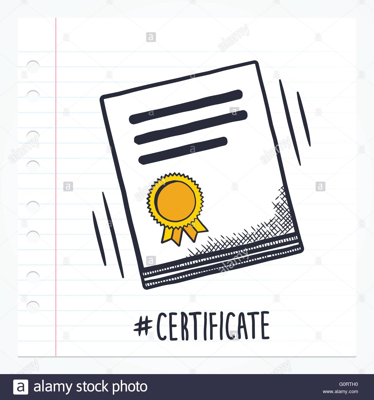 Vector Doodle Certificate Icon Illustration With Color Drawn On