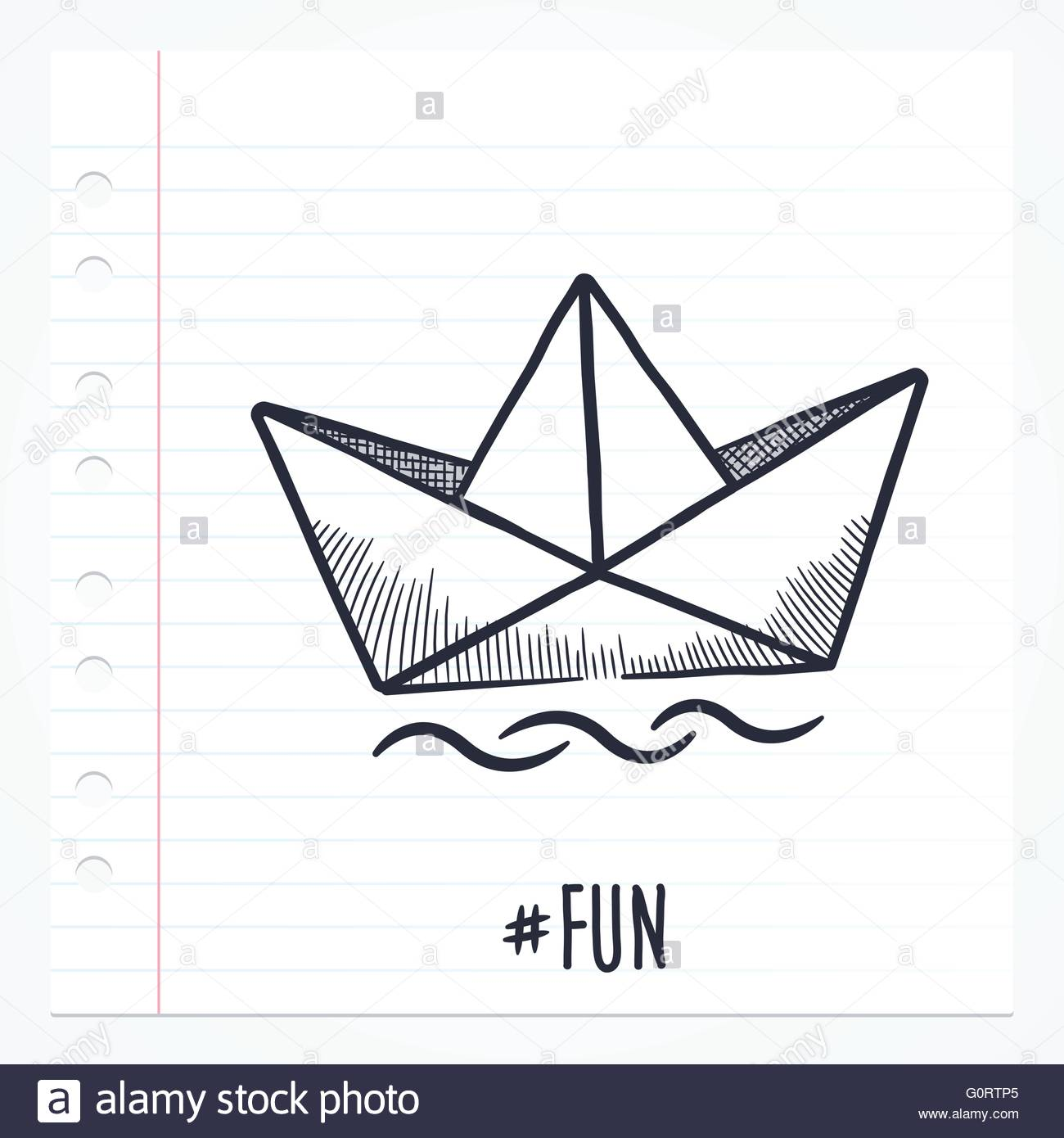 Vector doodle paper ship boat illustration with color, drawn on lined note paper. - Stock Image