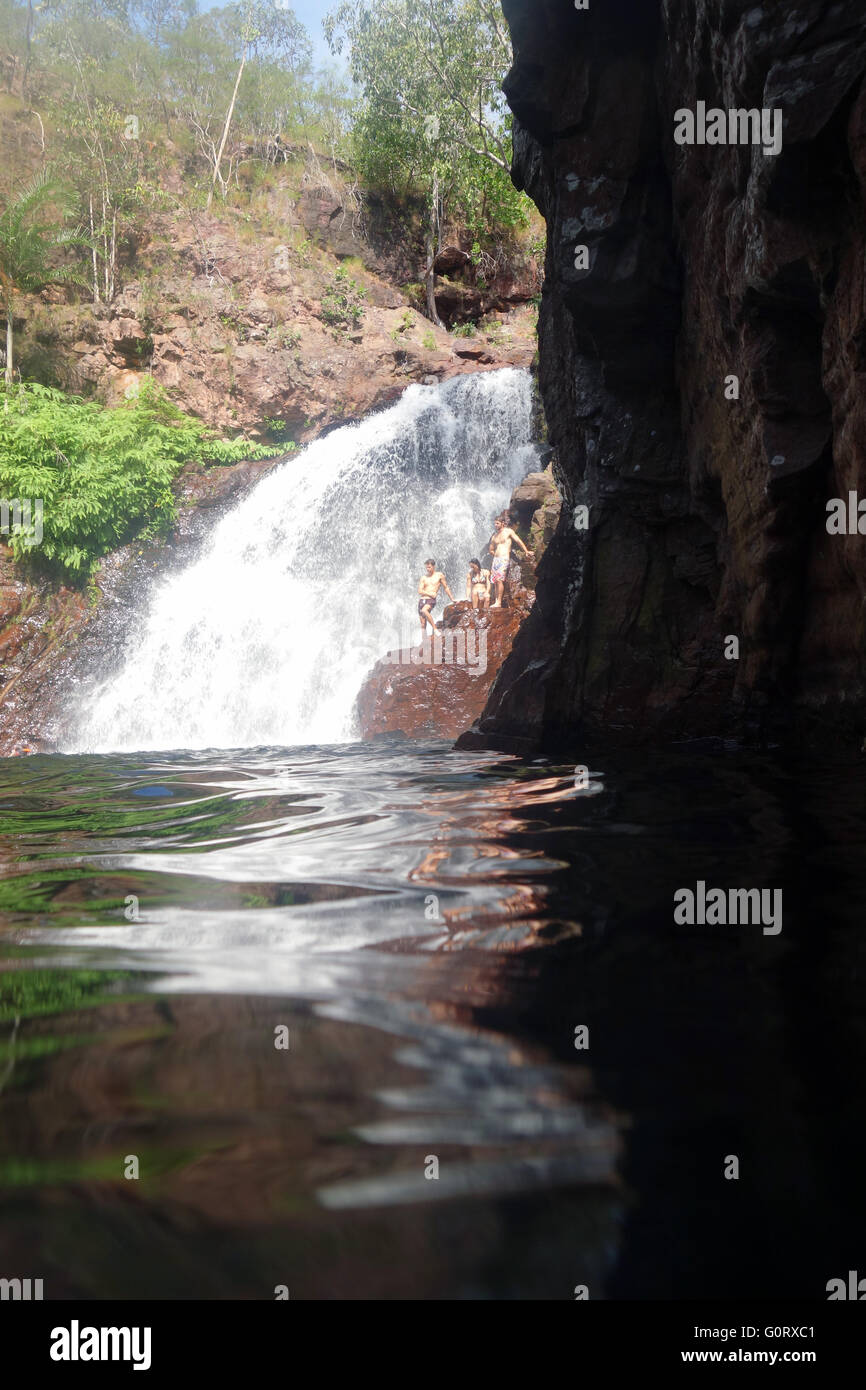 Swimmers at Florence Falls, Litchfield National Park, Northern Territory, Australia. No MR - Stock Image