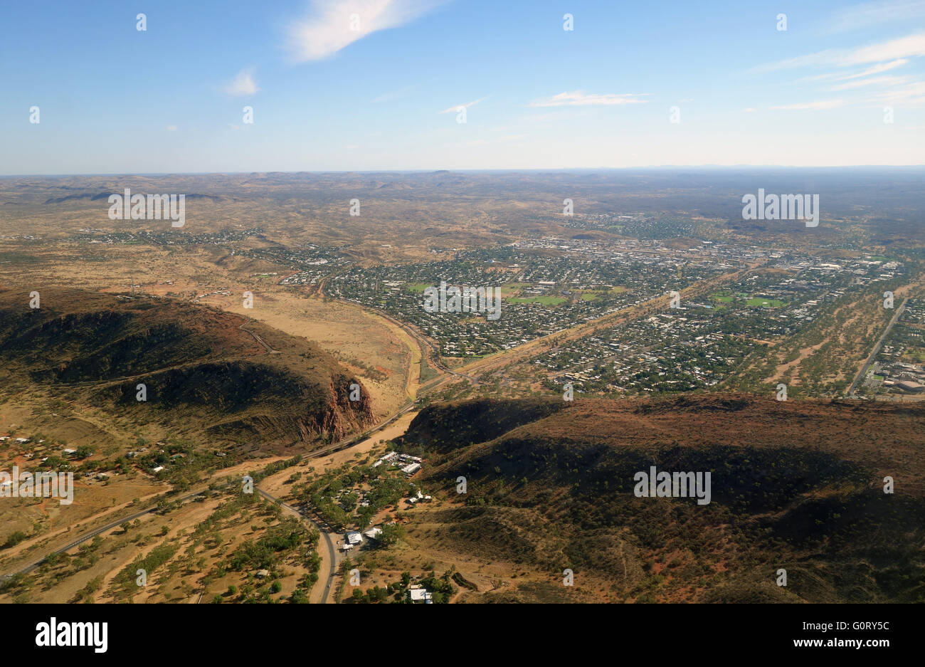 Aerial view of Heavitree Gap (Ntaripe to the local Aboriginal people) in the MacDonnell Range, Alice Springs, Northern - Stock Image