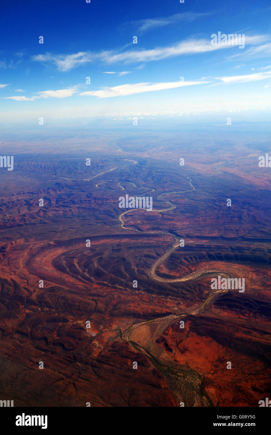 Aerial view of Finke River cutting through Finke Gorge National Park, Northern Territory, Australia - Stock Image
