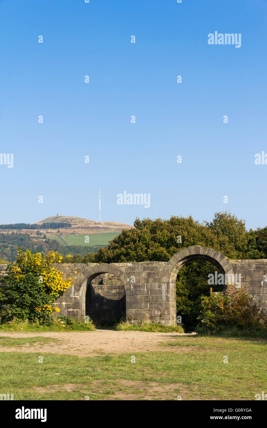 Part of Liverpool Castle at Rivington, Lancashire.  Not a genuine ruined castle  but a mock ruin built by William - Stock Image
