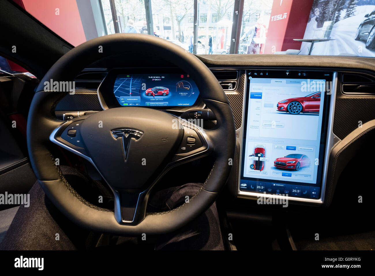 digital dashboard on model s car inside tesla electric car showroom stock photo 103788820 alamy. Black Bedroom Furniture Sets. Home Design Ideas