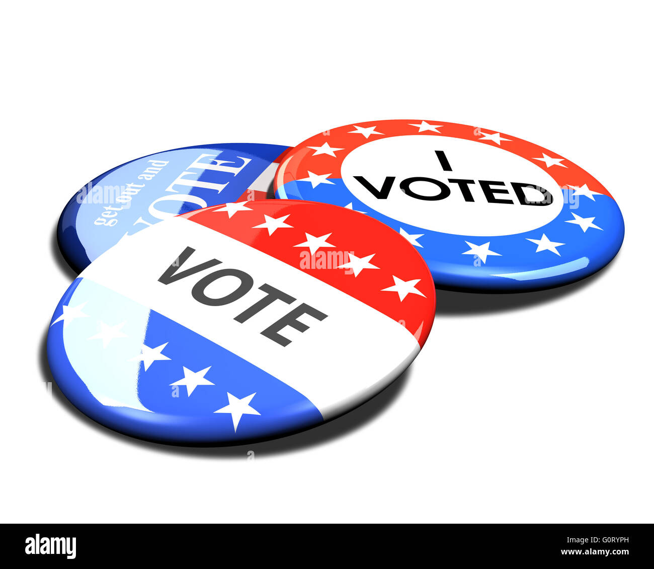 3d rendered and cut out vote button for US elections. Stock Photo