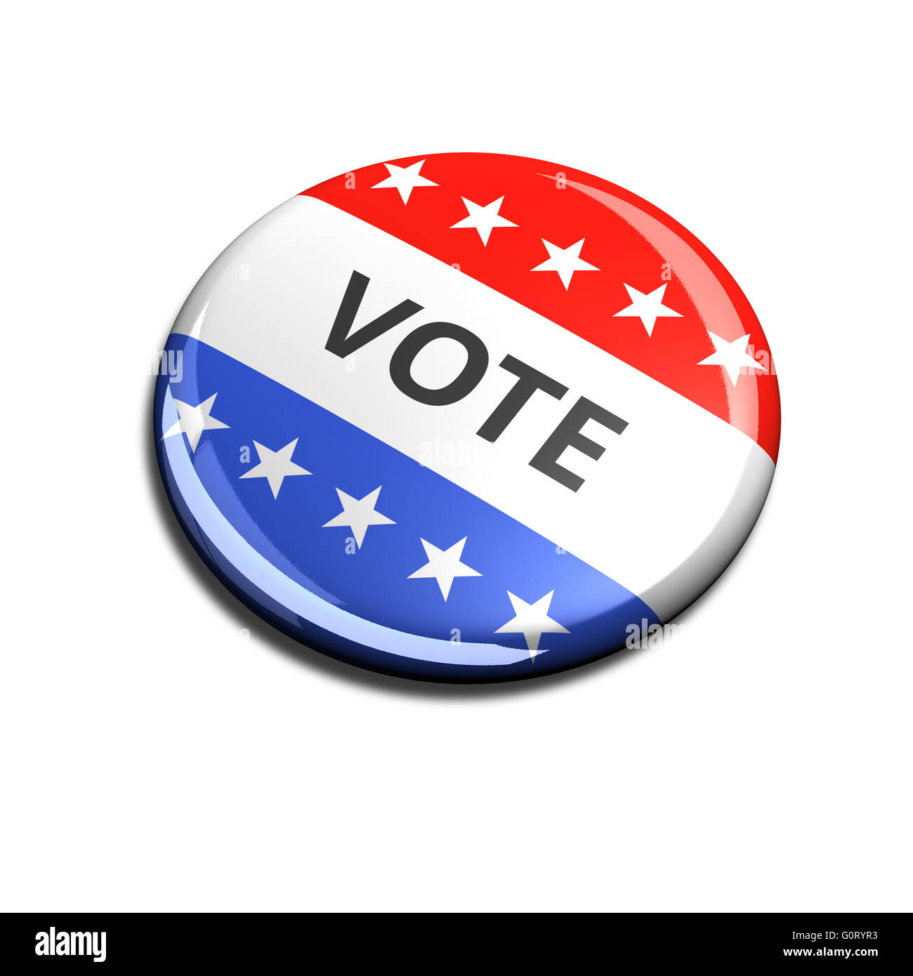 3d rendered and cut out vote button for US elections. - Stock Image