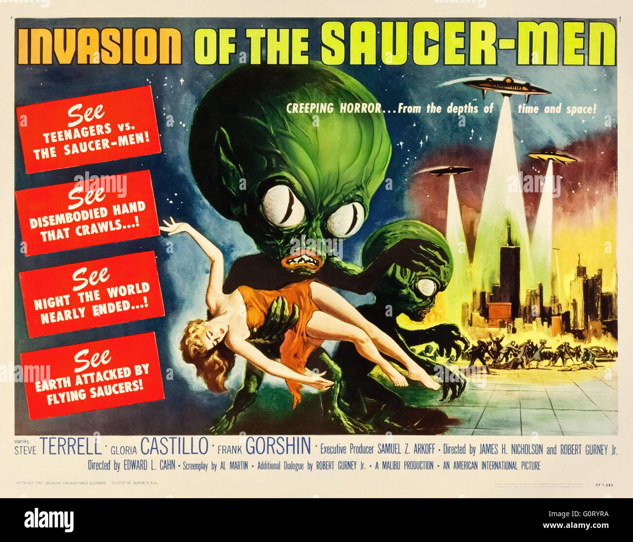 'Invasion of the Saucer-Men' (1957) directed by Edward L. Cahn and starring Steven Terrell, Gloria Castillo and Stock Photo