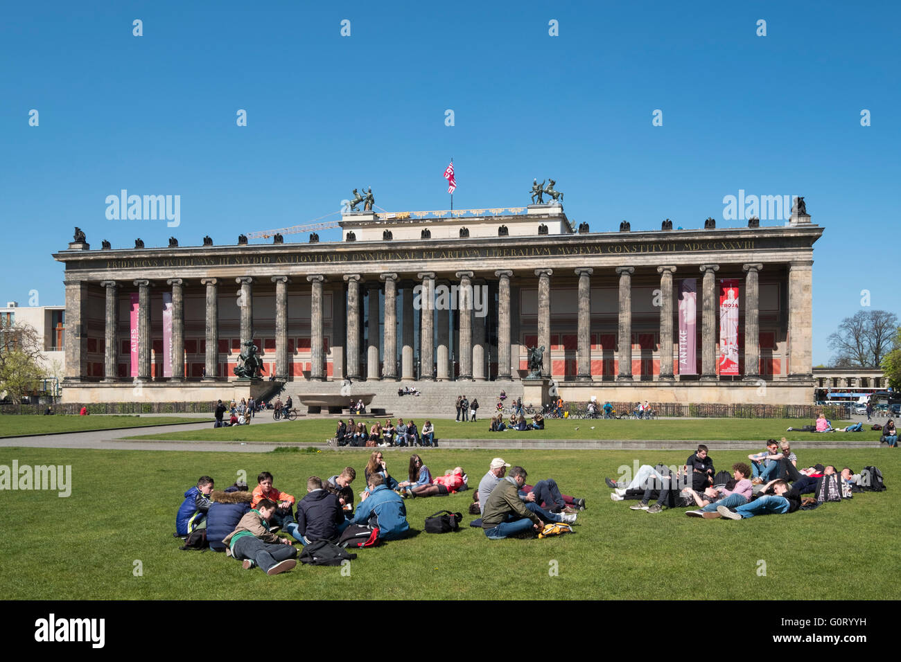 View of Altes Museum and Lustgarten on Museumsinsel ( Museum Island) in Berlin Germany - Stock Image