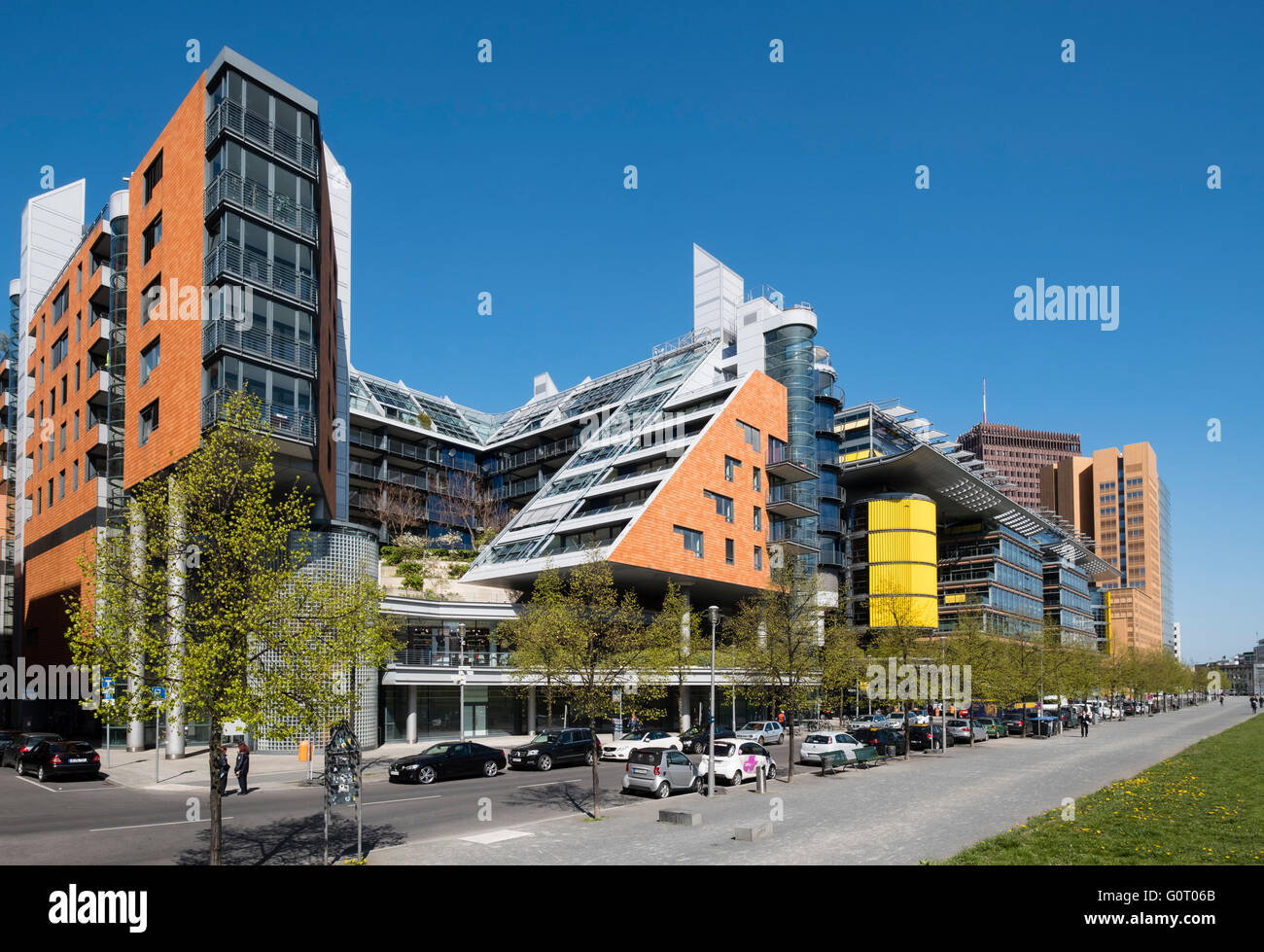 Modern architecture of apartments and offices at Daimler Chrysler Quartier at  Potsdamer Platz in Berlin Germany - Stock Image
