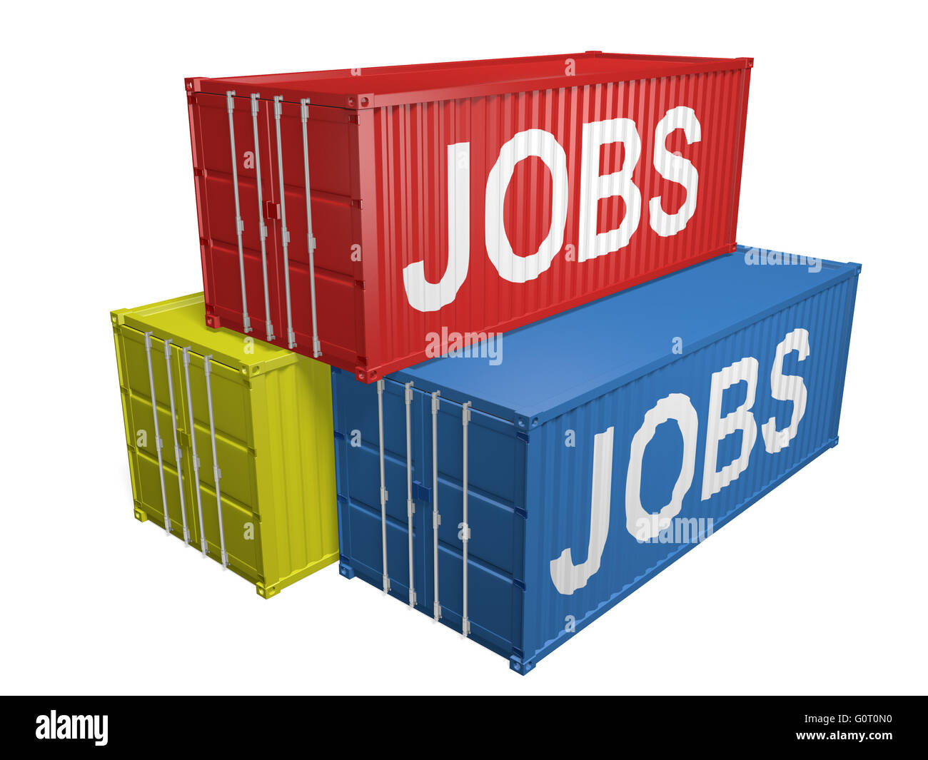 Shipping export containers labeled for job outsourcing, 3D rendering - Stock Image