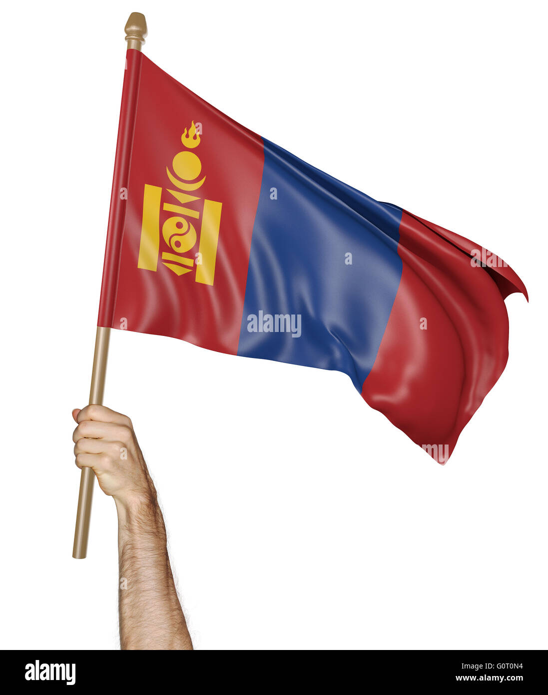 Hand proudly waving the national flag of Mongolia, 3D rendering - Stock Image