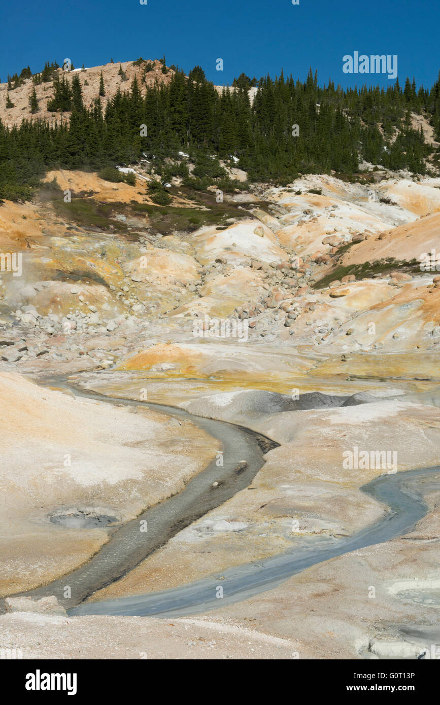 Bumpass Hell, geothermal area, Lassen Volcanic National Park, California, last eruption 1912 - Stock Image