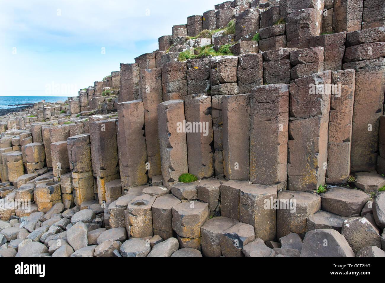 Basalt columns at the Giant's Causeway, Northern Ireland. Stock Photo