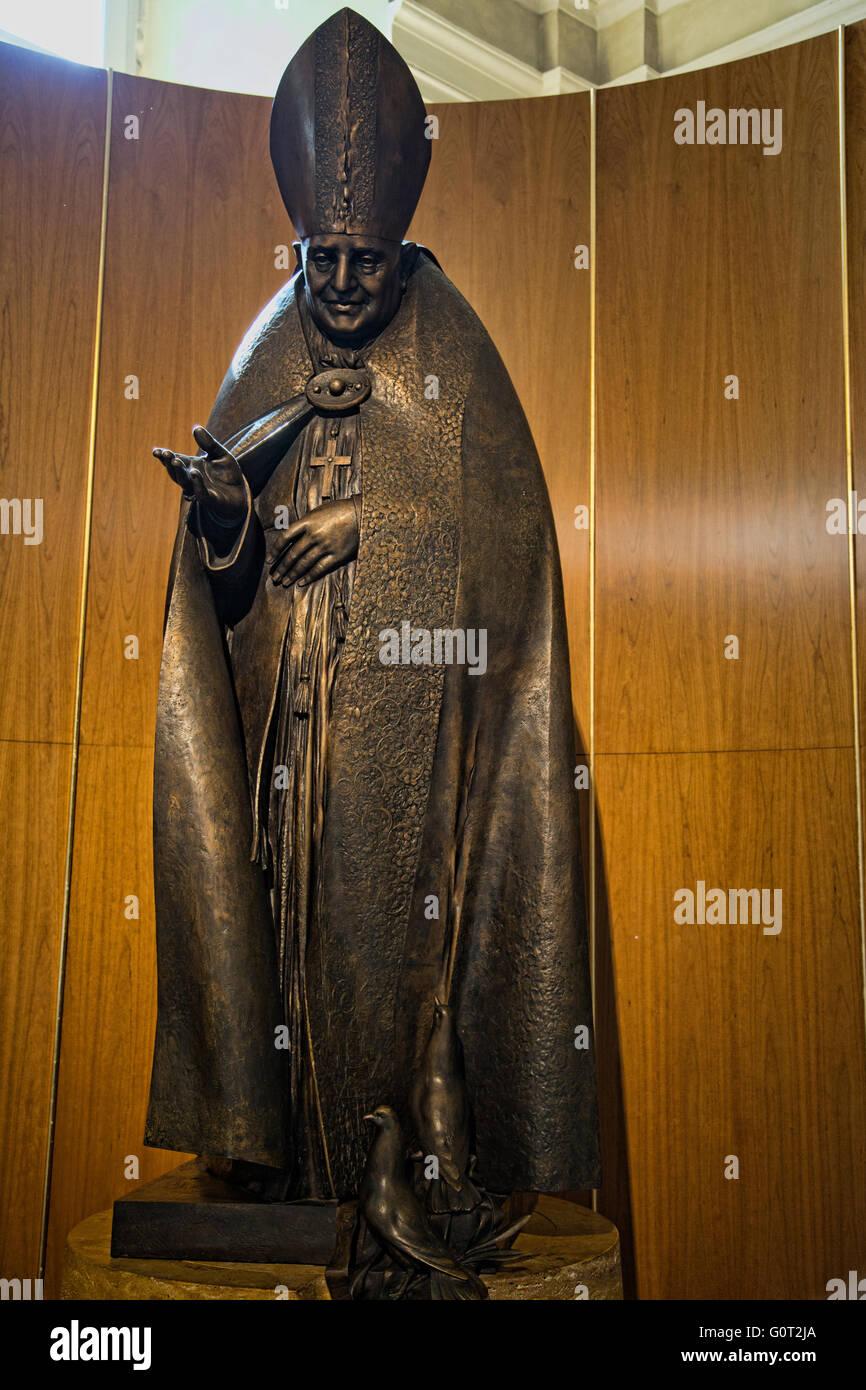 Pope John XXIII statue in the Duomo di Bergamo located in the Upper City of Bergamo in Lombardy Italy Stock Photo