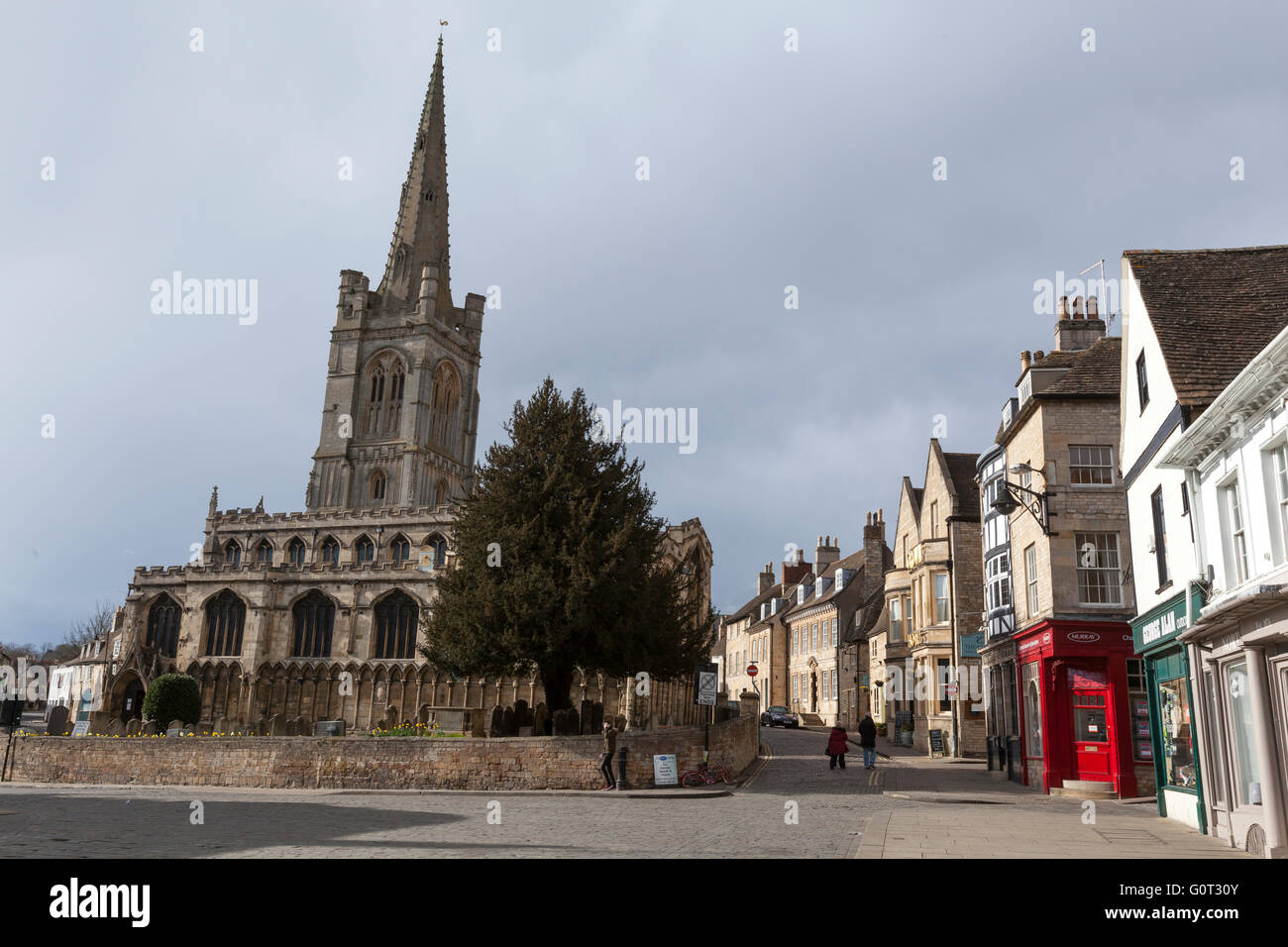 Stamford Church of All Saints from Red Lion Square , Lincolnshire, England, - Stock Image