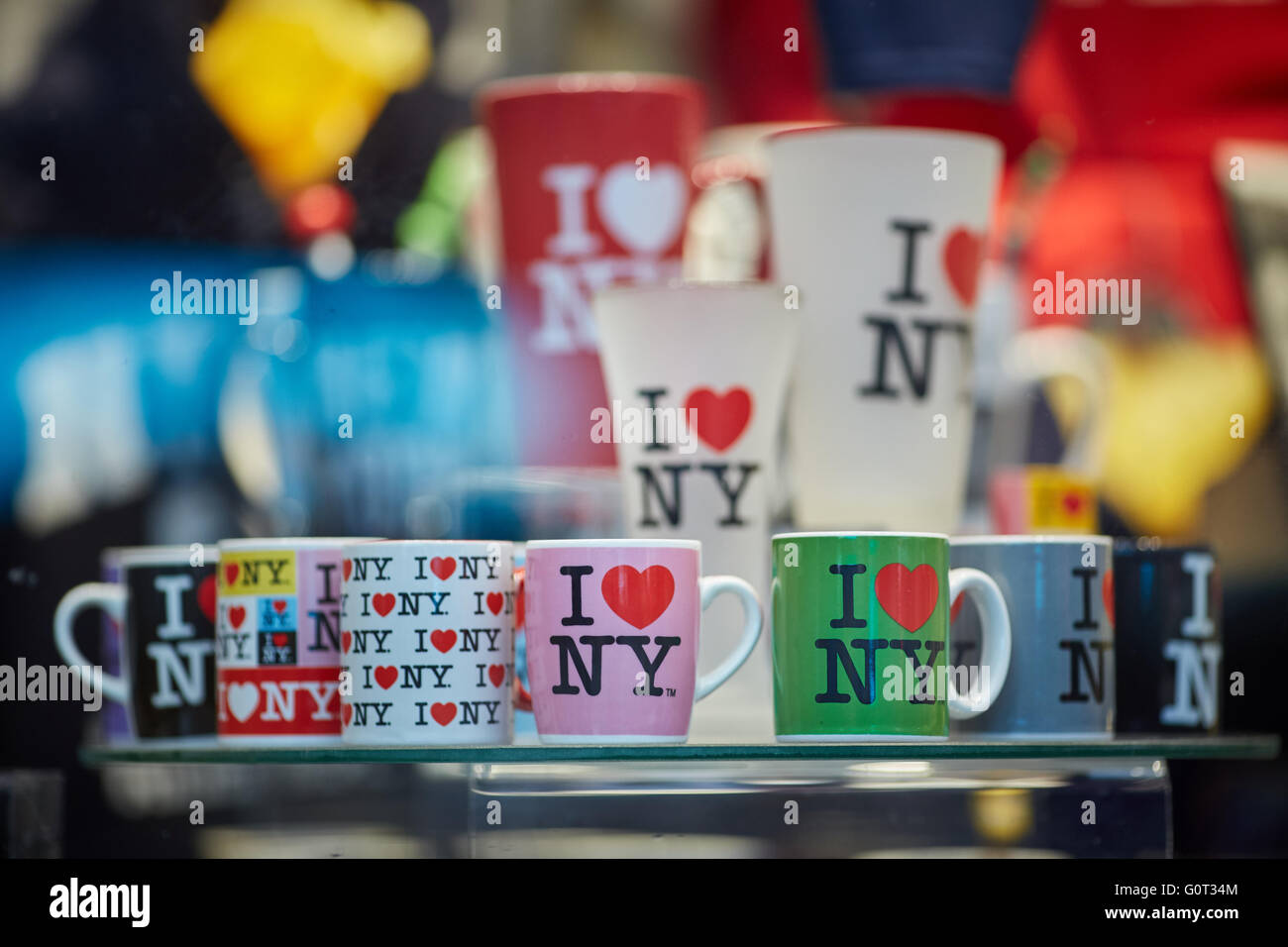 New York times Square broadway  gift i luv love ny nyc cups mugs presents displayed in gift shop window close up - Stock Image