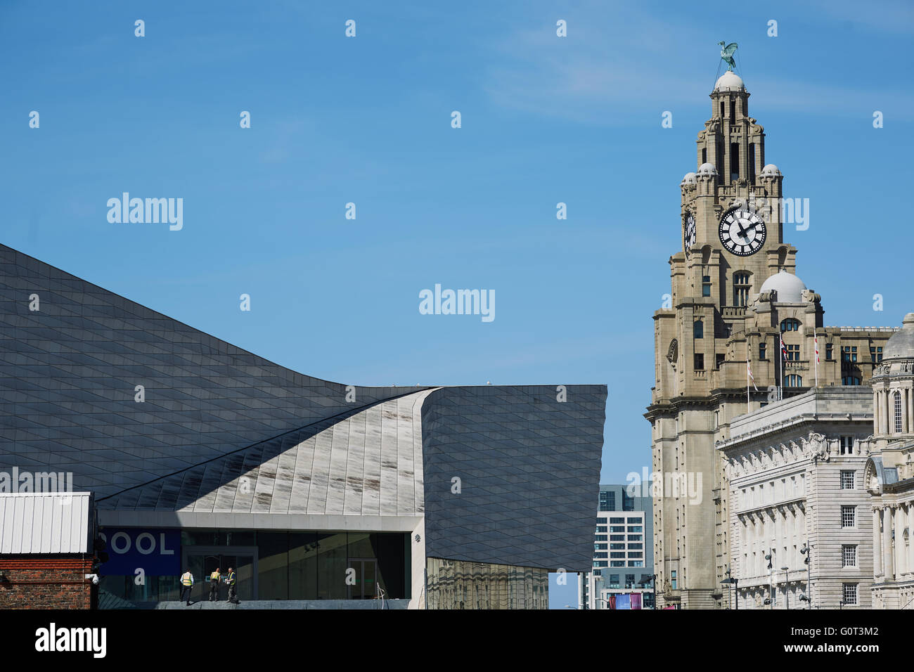 Liverpool albert dock buildings liver building    The Royal Liver Building is a Grade I listed building in Liverpool, - Stock Image