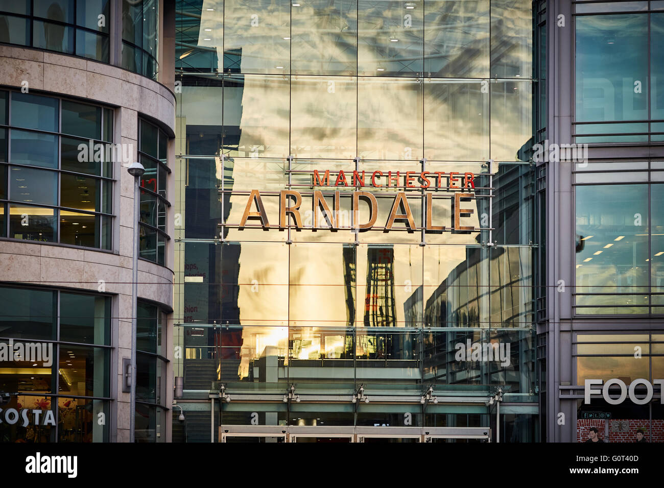 Manchester Arndale   Sign exterior reflections entrance exchange square Shops shopping shopper store retail precinct - Stock Image
