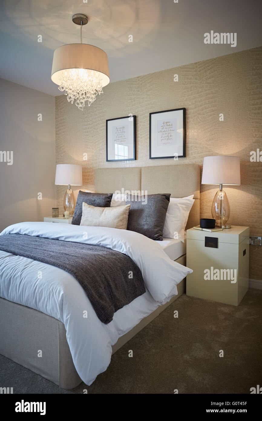 Show Home Interior Main Bedroom Adult Cream Magnolia Print Wallpaper Calm  Space Suburban Suburbia Suburbs Town Village Loca