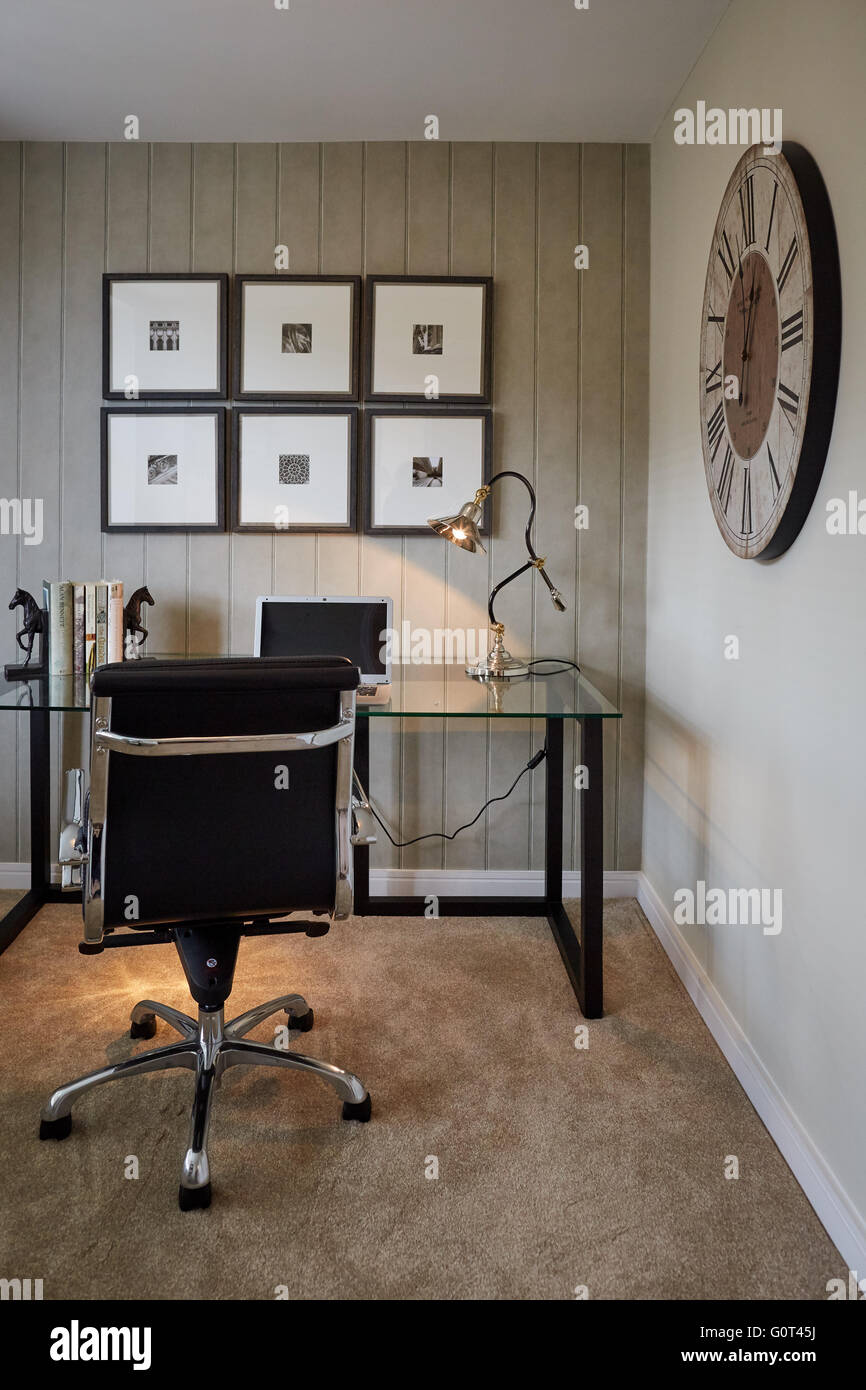 office desk wallpaper. Show Home Interior Study Office Desk Laptop Glass Clock On Wall Adult Cream Dark Print Wallpaper Calm Space Suburban Su