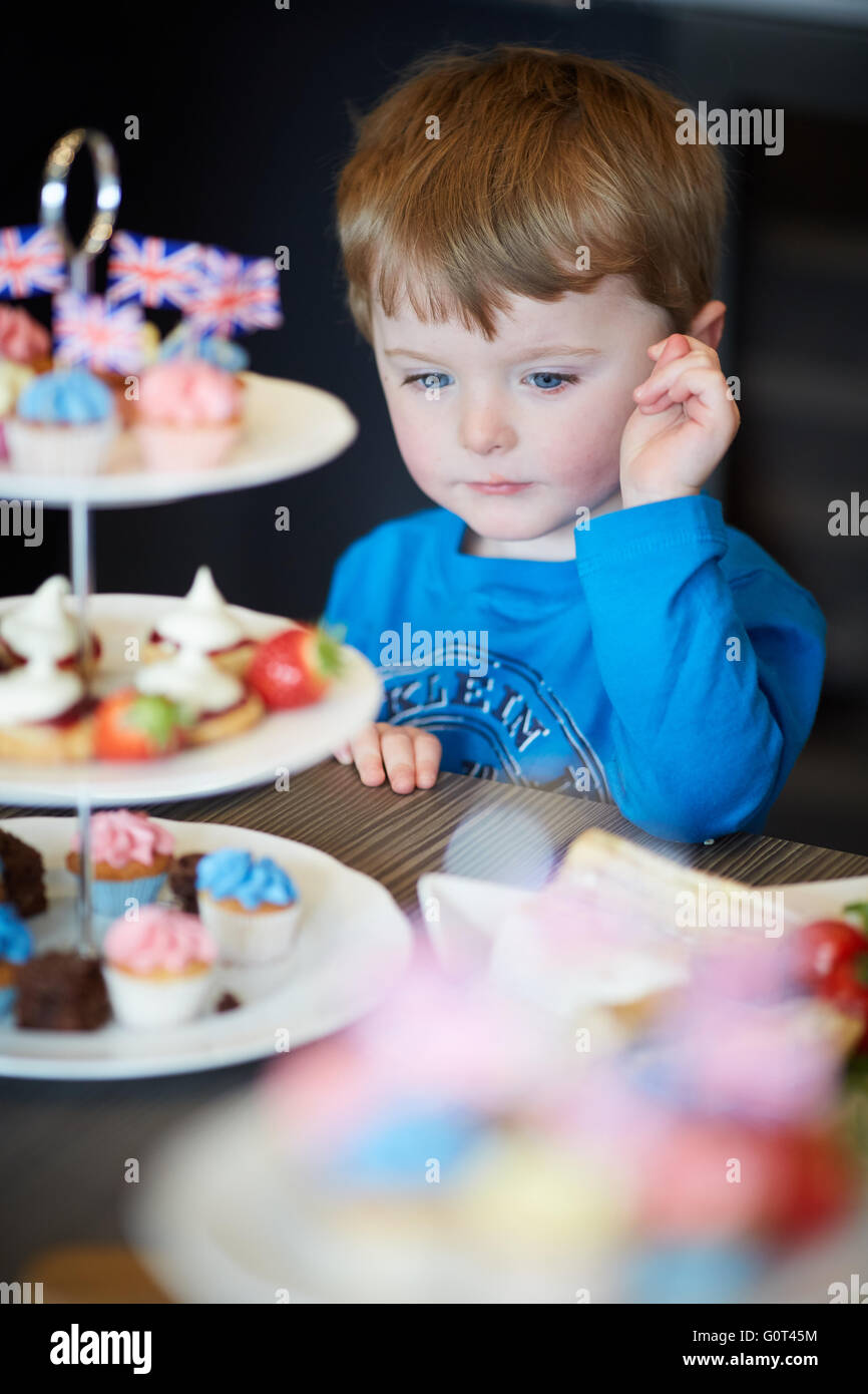 Young Boy With Cakes Sweet Tempted Man Men Male His Him He Lads Boys Kids Children Youngsters Child Toddlers Adolescen