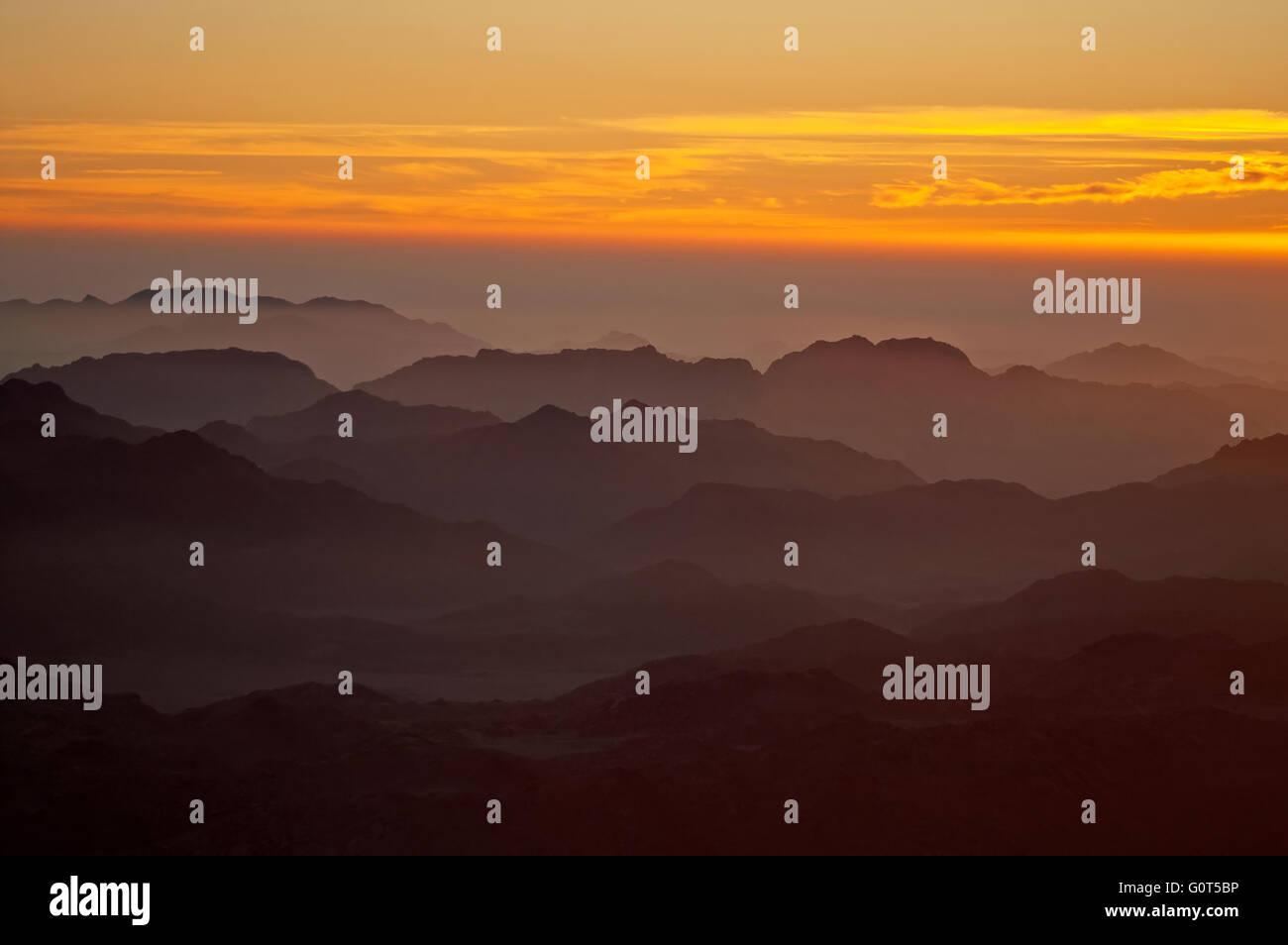 Panorama rocks of holy ground Mount Sinai on the sunrise, Egypt - Stock Image