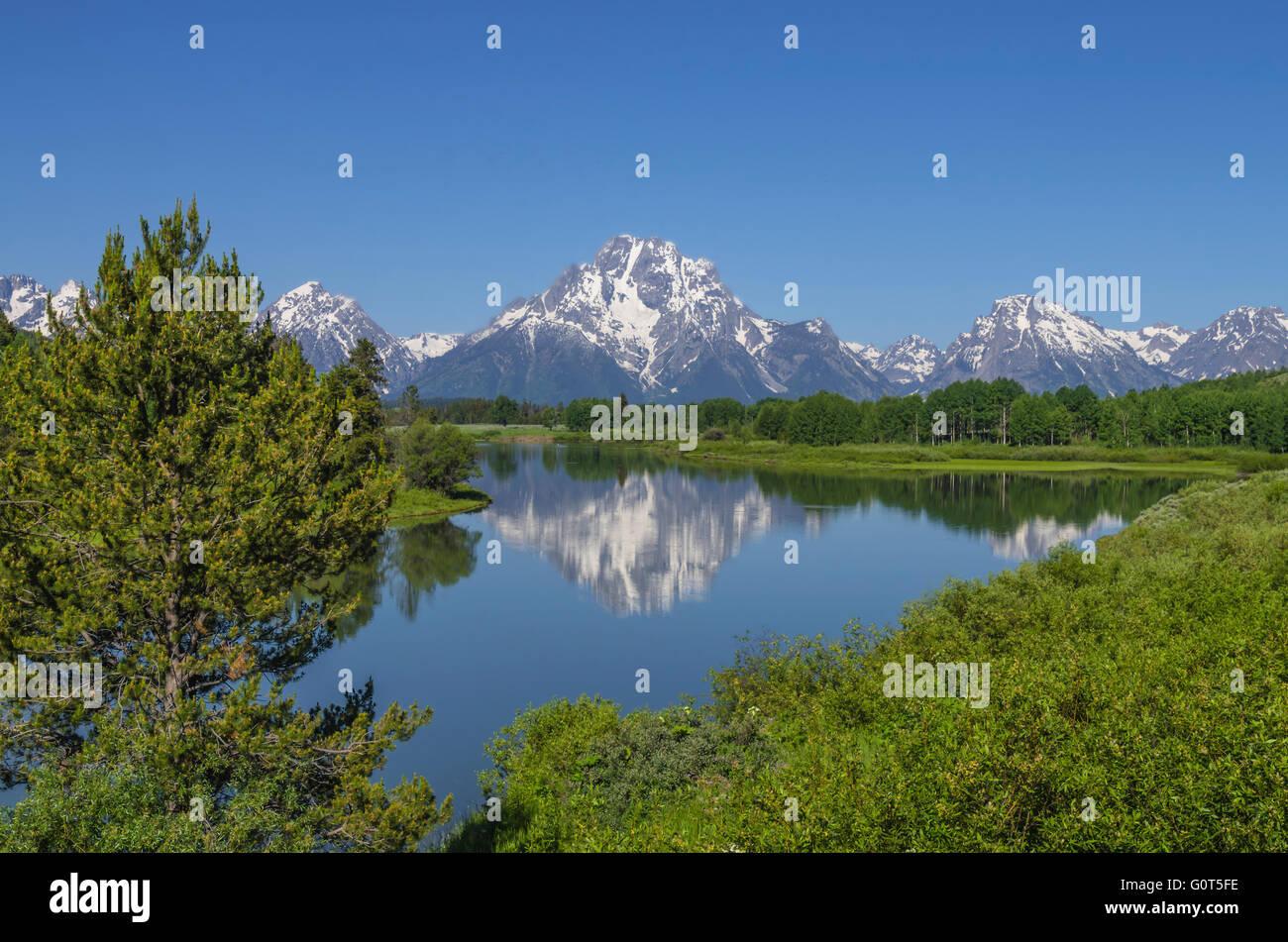 Mount Moran. Oxbow Bend. Teton National Park. Wyoming. USA - Stock Image