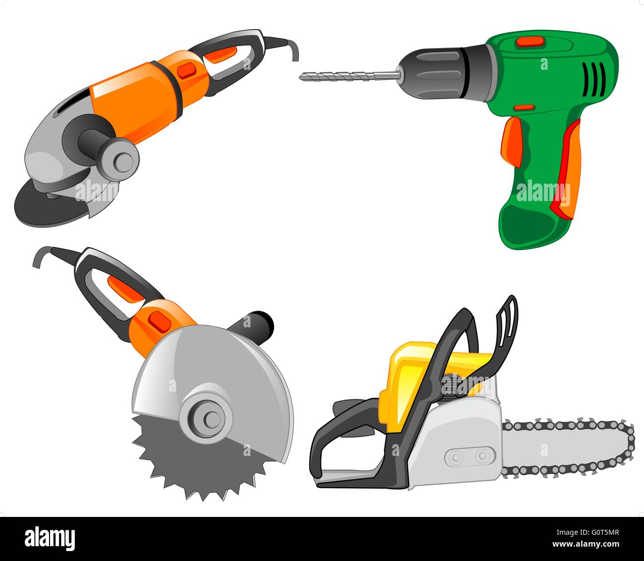 Tools electric for work on house - Stock Vector