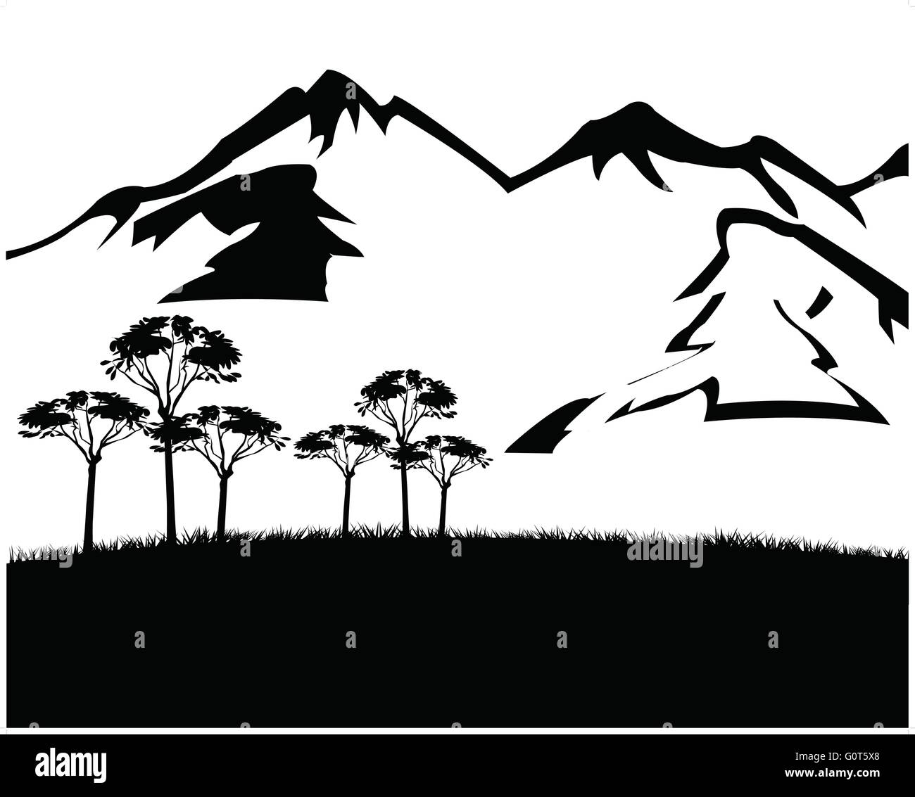 Black white landscape with mountain - Stock Image