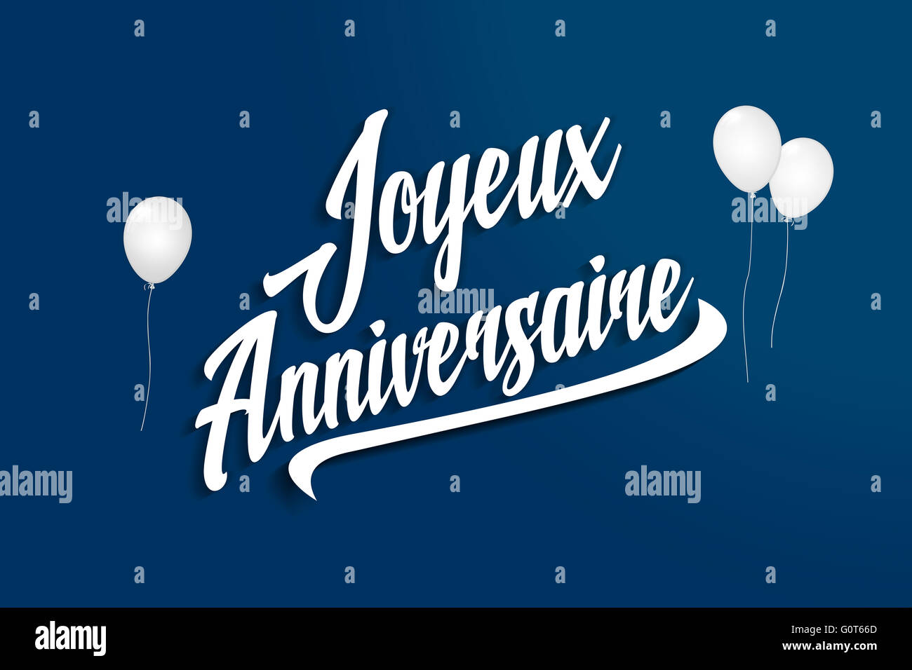 Joyeux Anniversaire Happy Birthday In French Balloons Stock