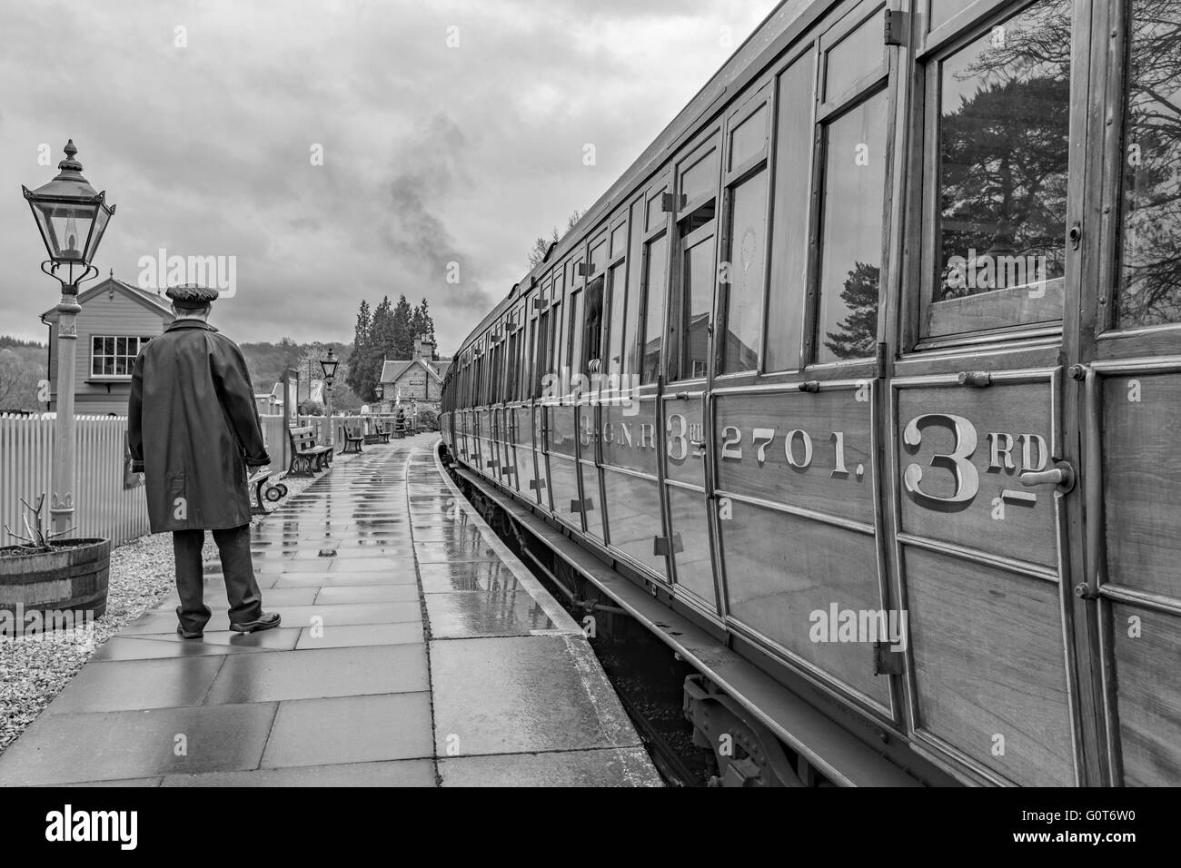 Arley train Station on the Severn Valley Railway in monochrome, Worcestershire, England, UK - Stock Image