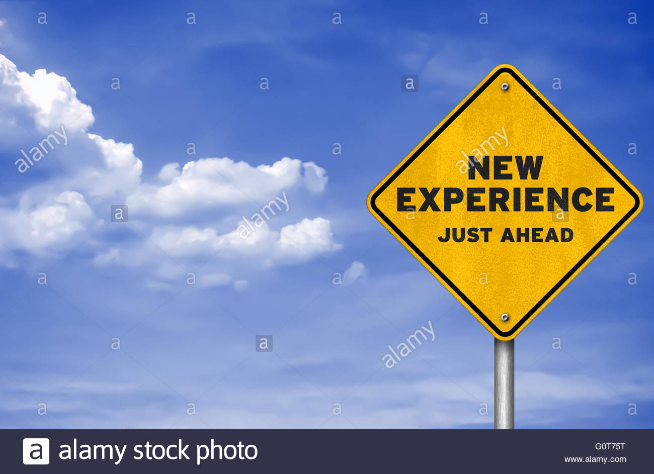 New experience - road sign concept - Stock Image
