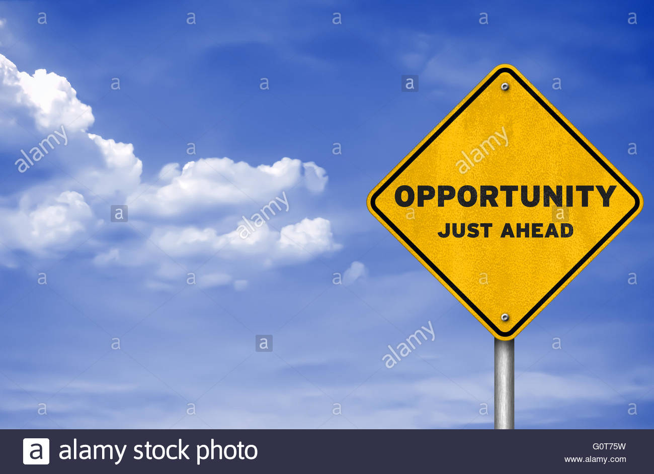 Opportunity just ahead - road sign concept - Stock Image