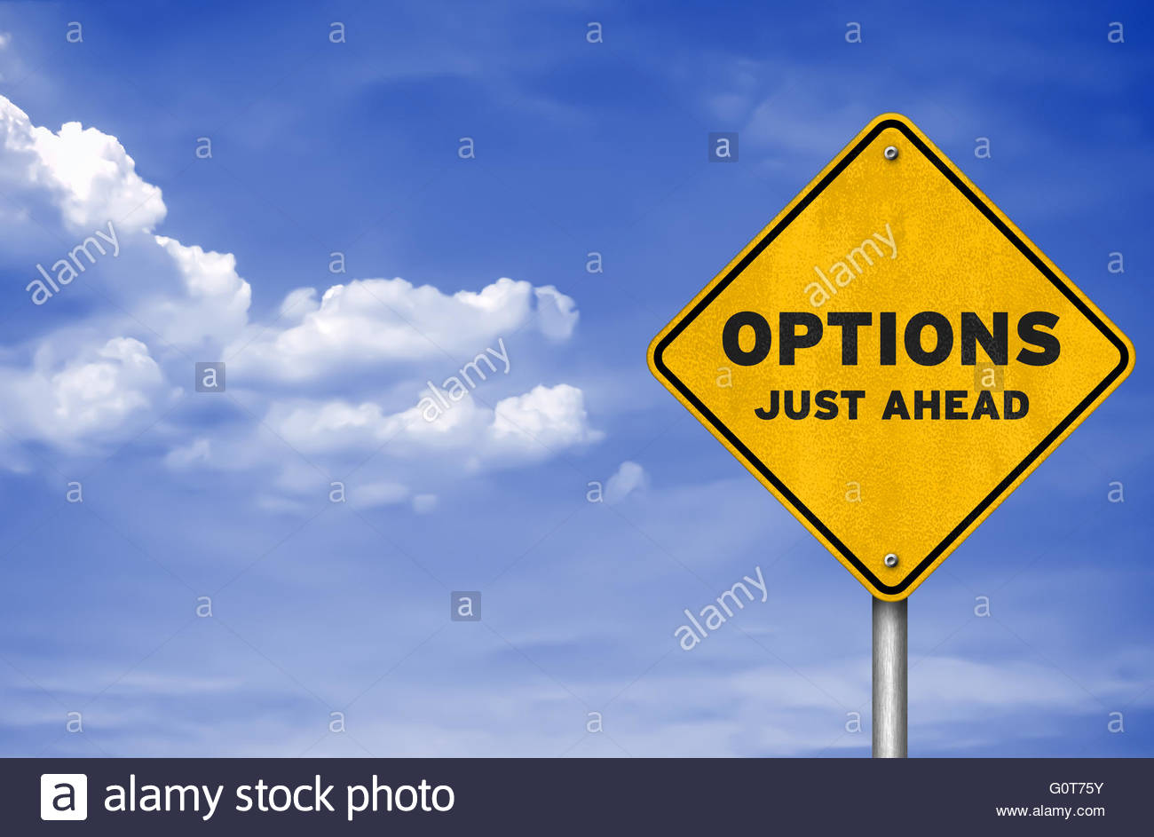 Options just ahead - road sign concept - Stock Image