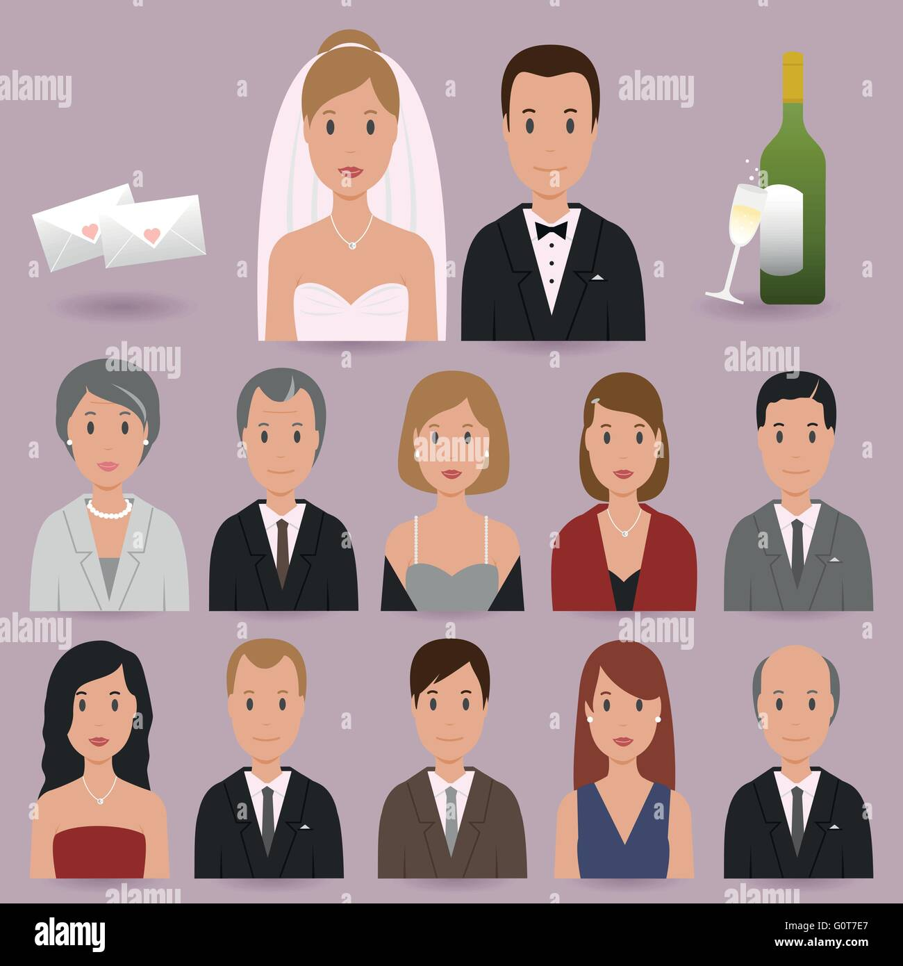 Bride, groom and wedding guests icons - Stock Vector