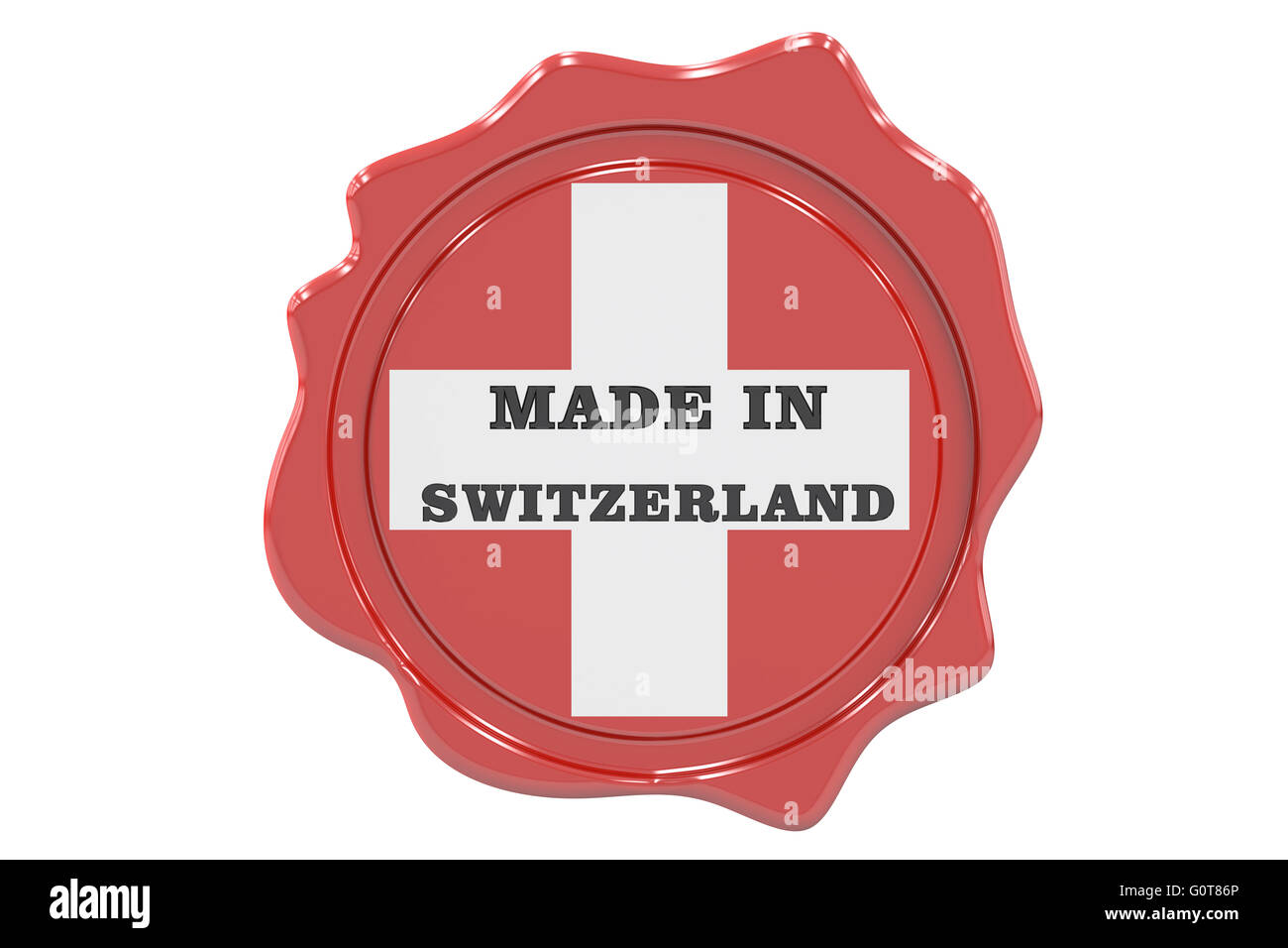 made in Switzerland seal, stamp. 3D rendering - Stock Image