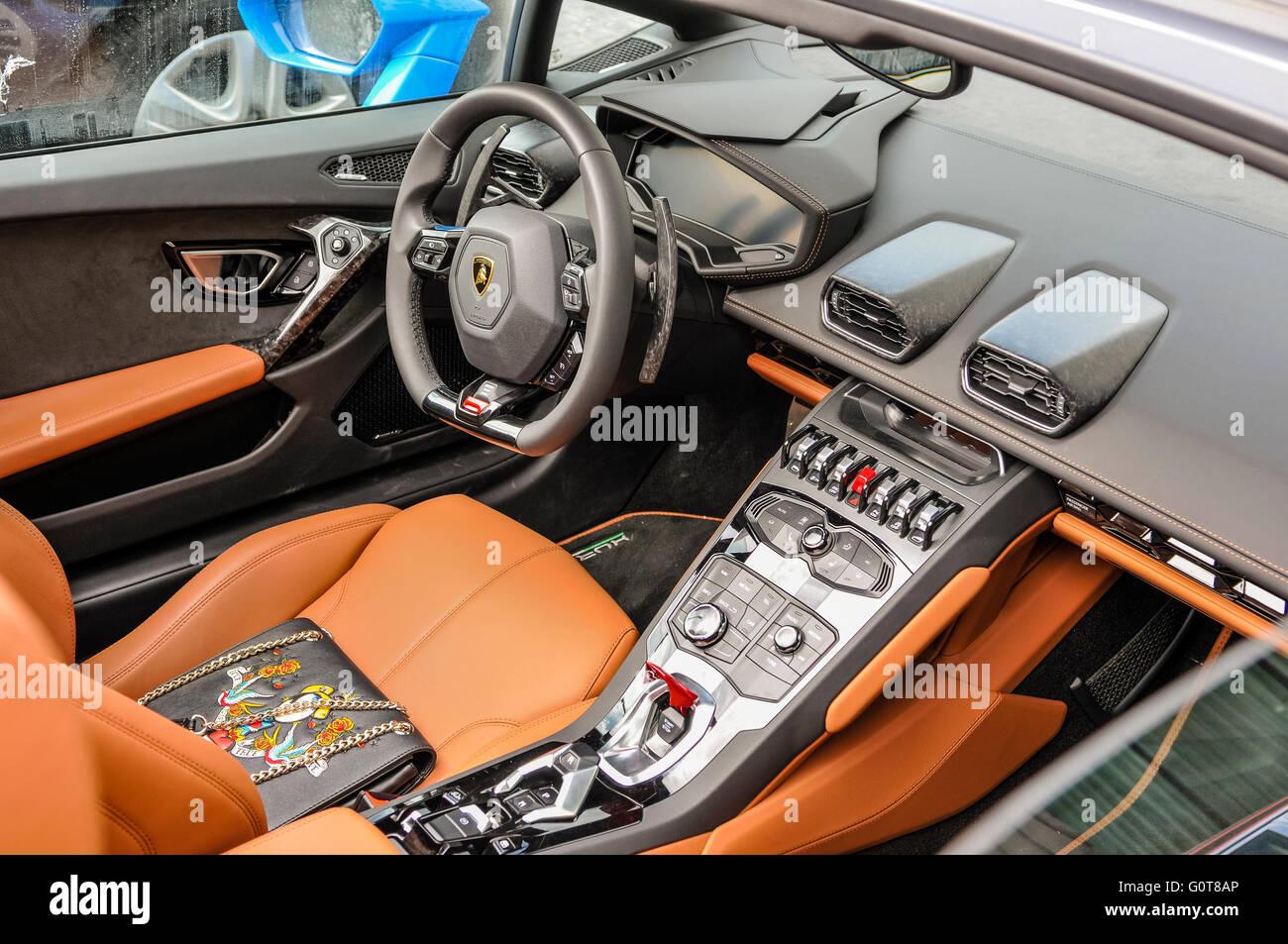 Interior cockpit of a Lamborghini Aventador. - Stock Image