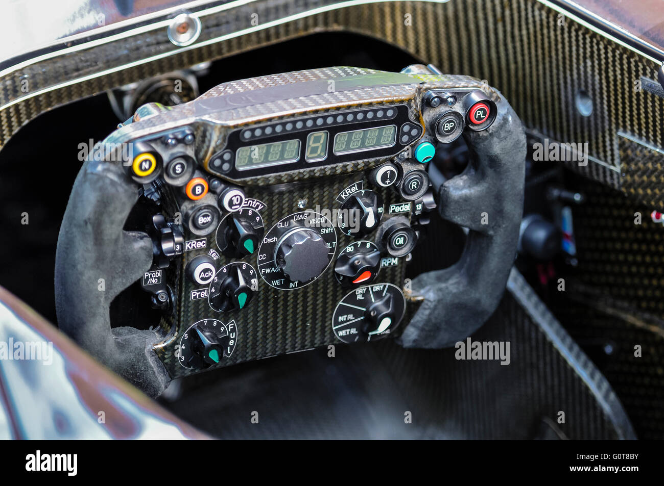 Multifunction steering wheel of a Sauber Formula 1 racing car. - Stock Image
