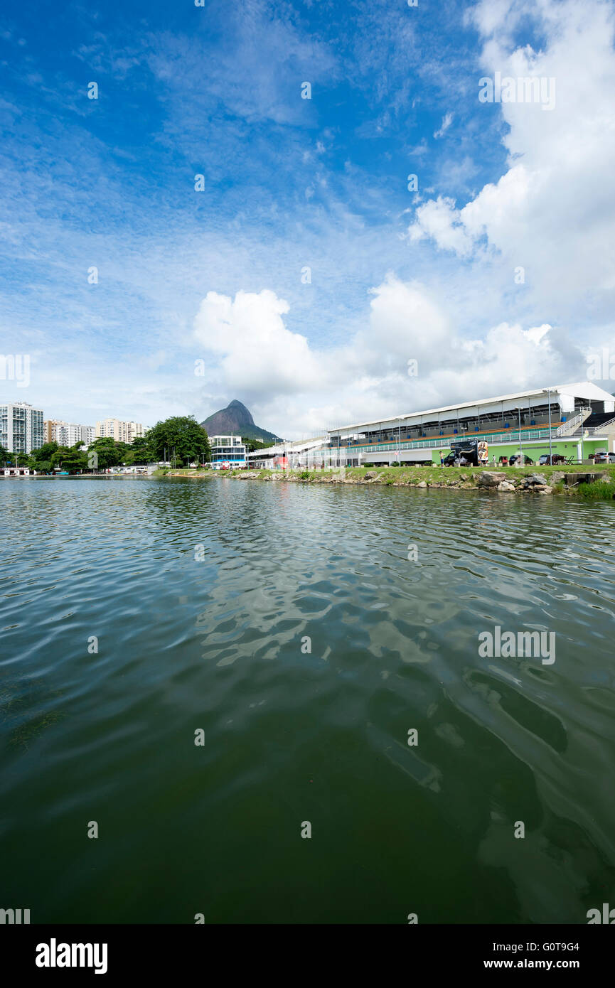 RIO DE JANEIRO, MARCH 17, 2016: The grandstand of the Estádio de Remo da Lagoa, or Lagoa Stadium, is an Olympic - Stock Image