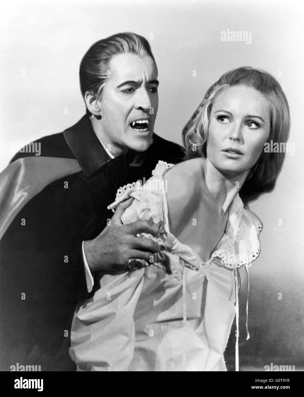 Christopher Lee and Veronica Carlson / Dracula Has Risen From the Grave /  1968 directed by Freddie Francis (Hammer Stock Photo