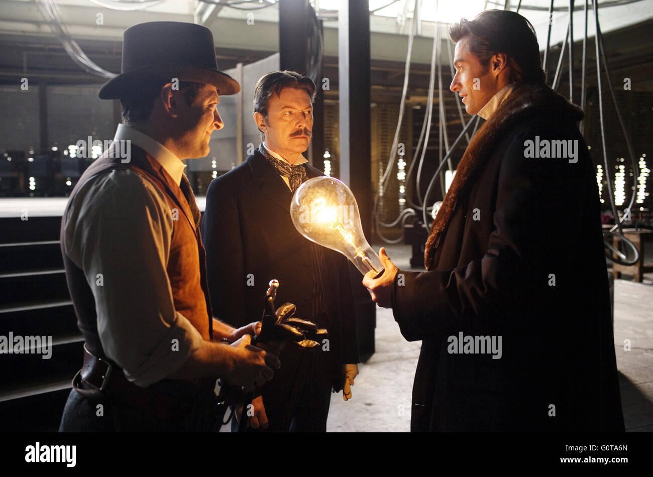 Andy Serkis (Roger Alley), David Bowie (Nikola Tesla) and Hugh Jackman (Robert Angier) in Warner Bros. Pictures - Stock Image
