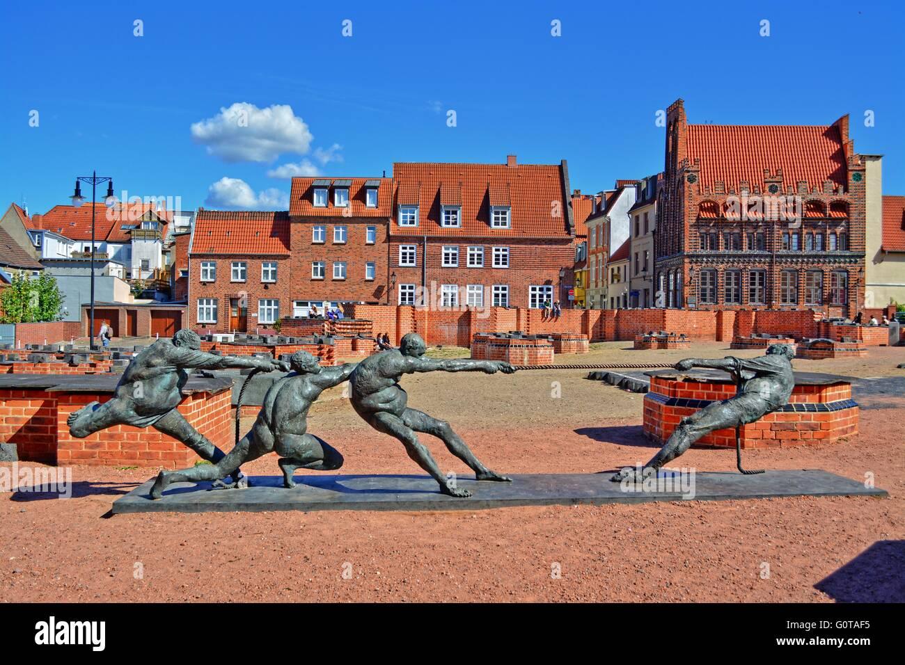 Wismar, German city on the Baltic Coast, St. Mary, parish church memorial - Stock Image