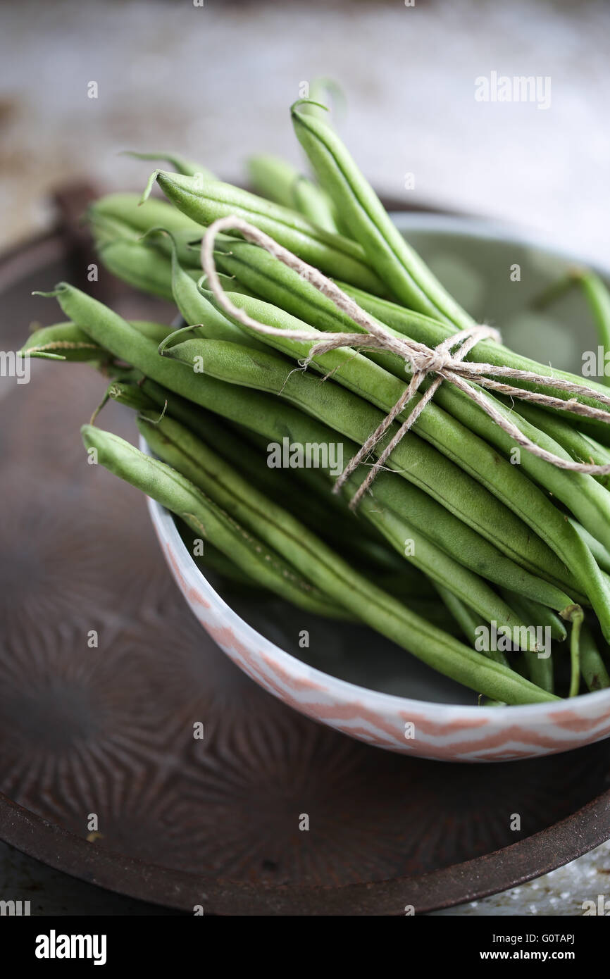 Fresh green beans - Stock Image