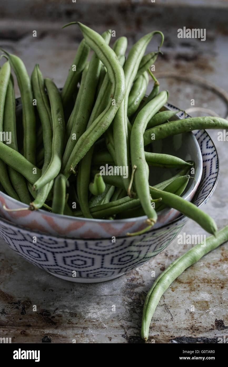 Fresh green beans - Stock Image