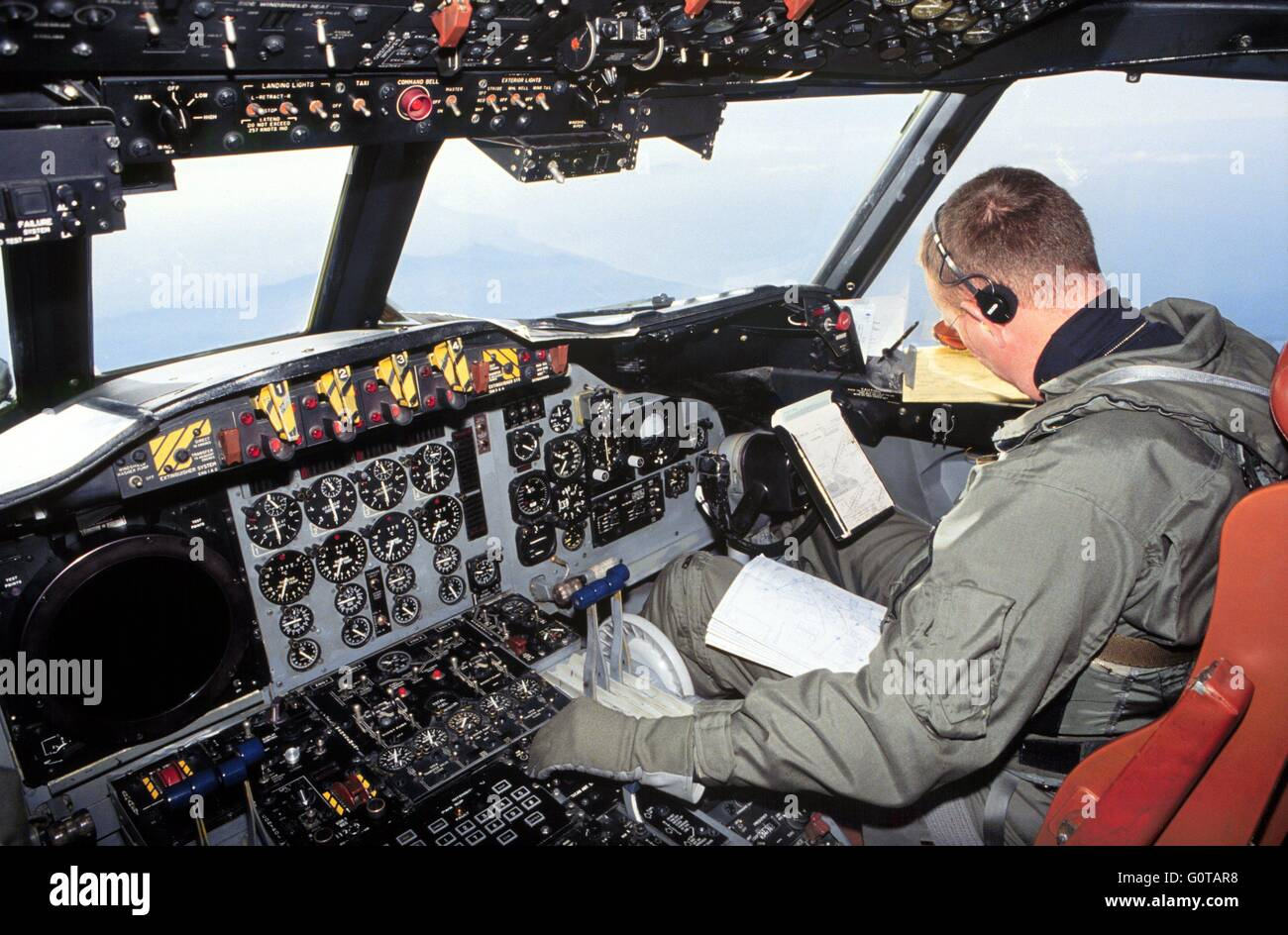 cockpit of a us navy antisubmarine p3 orion aircraft stock photo