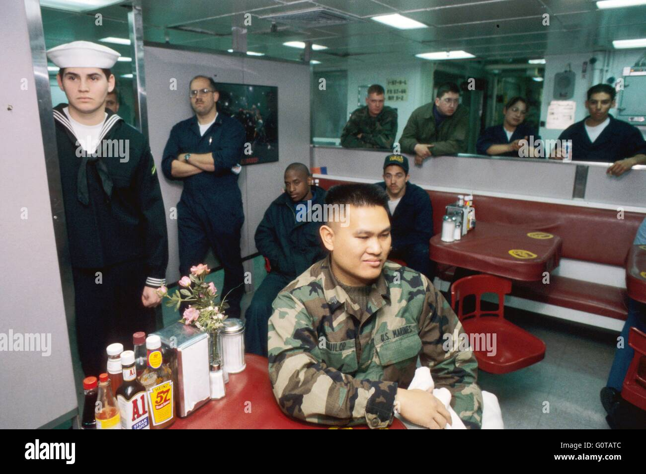 US NAVY, crew in refectory room on amphibious assault ship Wasp Stock Photo