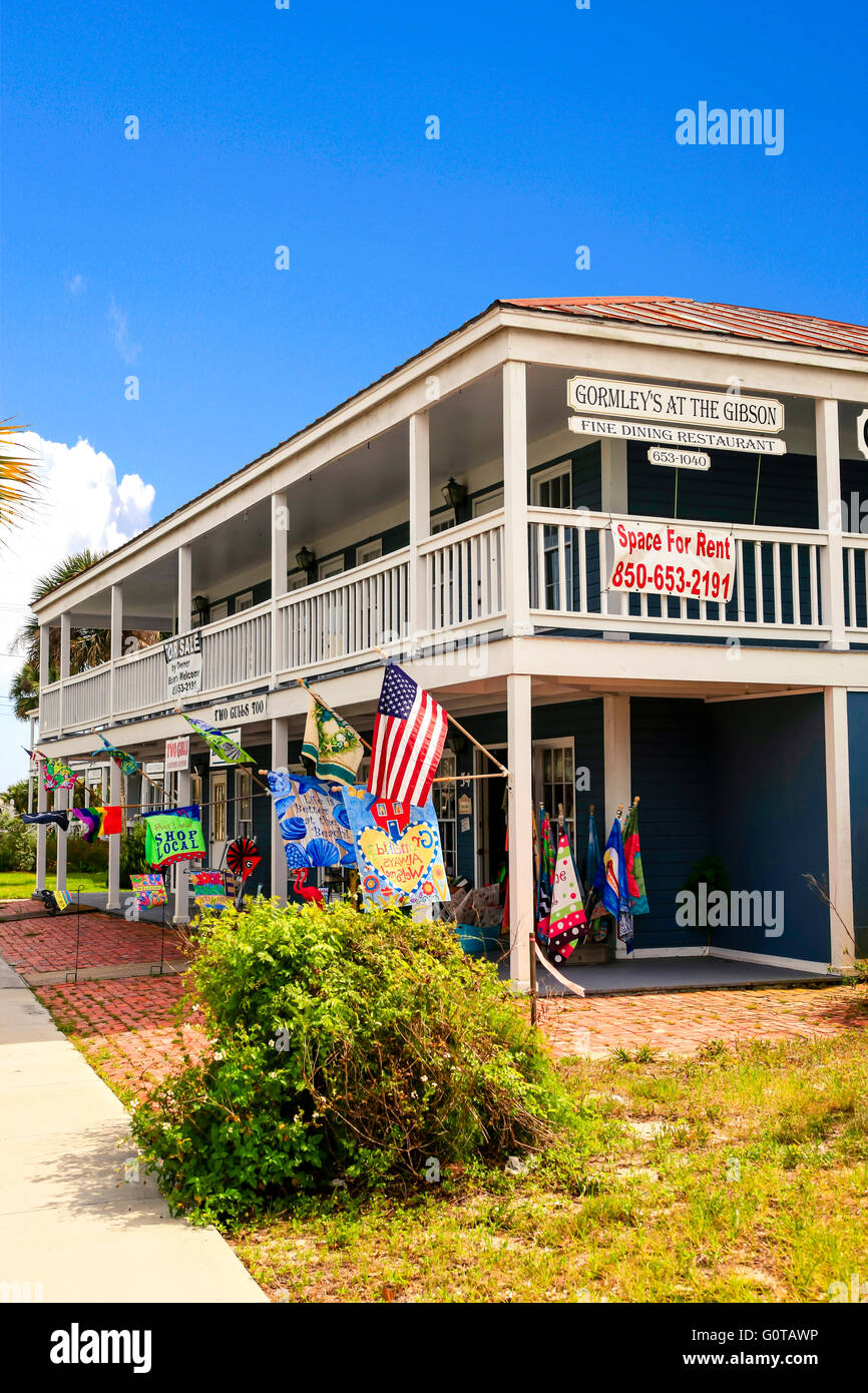 Multi-business complex in Apalachicola city on the Florida panhandle. - Stock Image